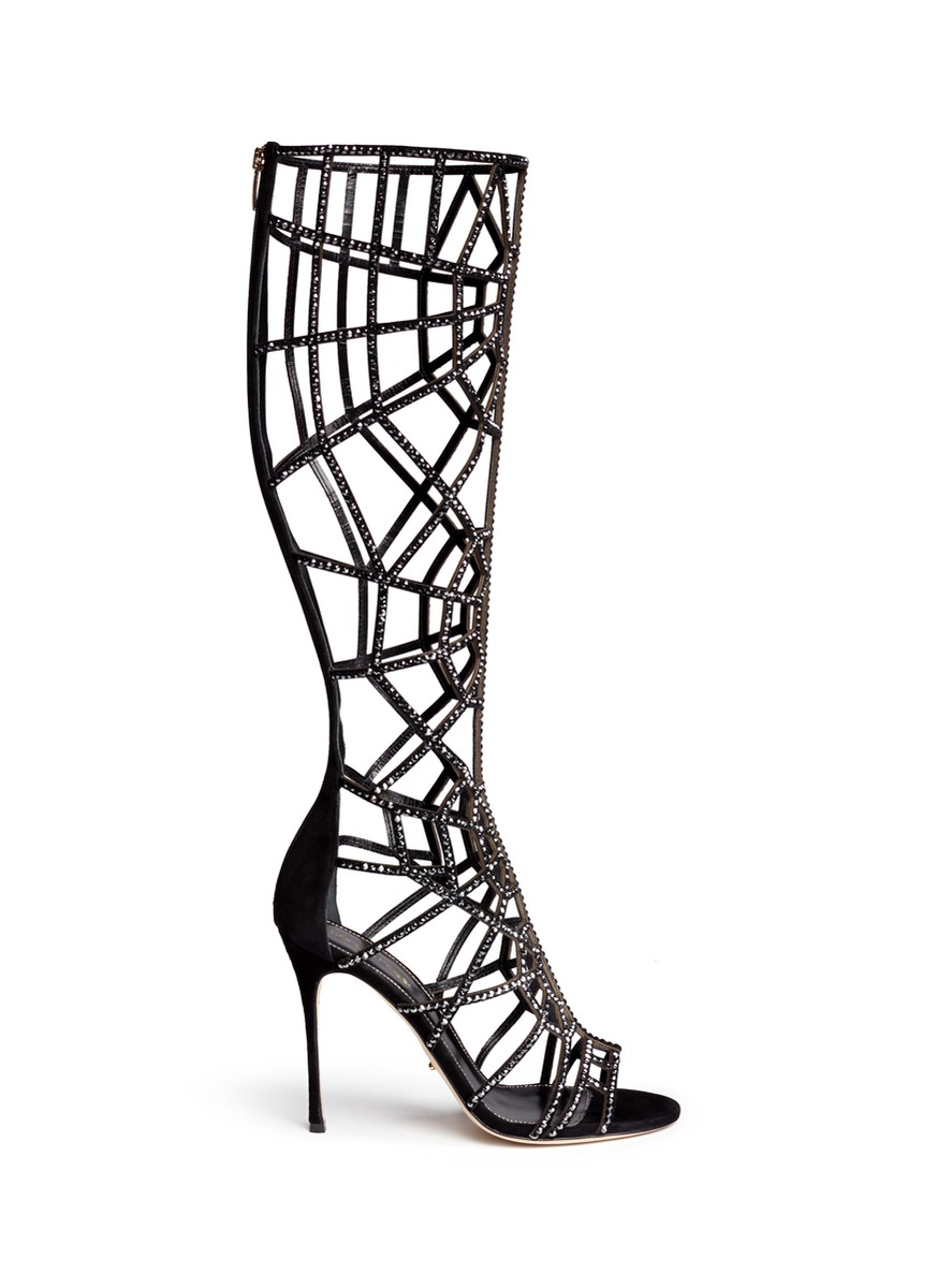 1b0c670c441d lyst – sergio rossi  puzzle  suede strass cutout cage sandal boots.  Download Image 873 X 1200