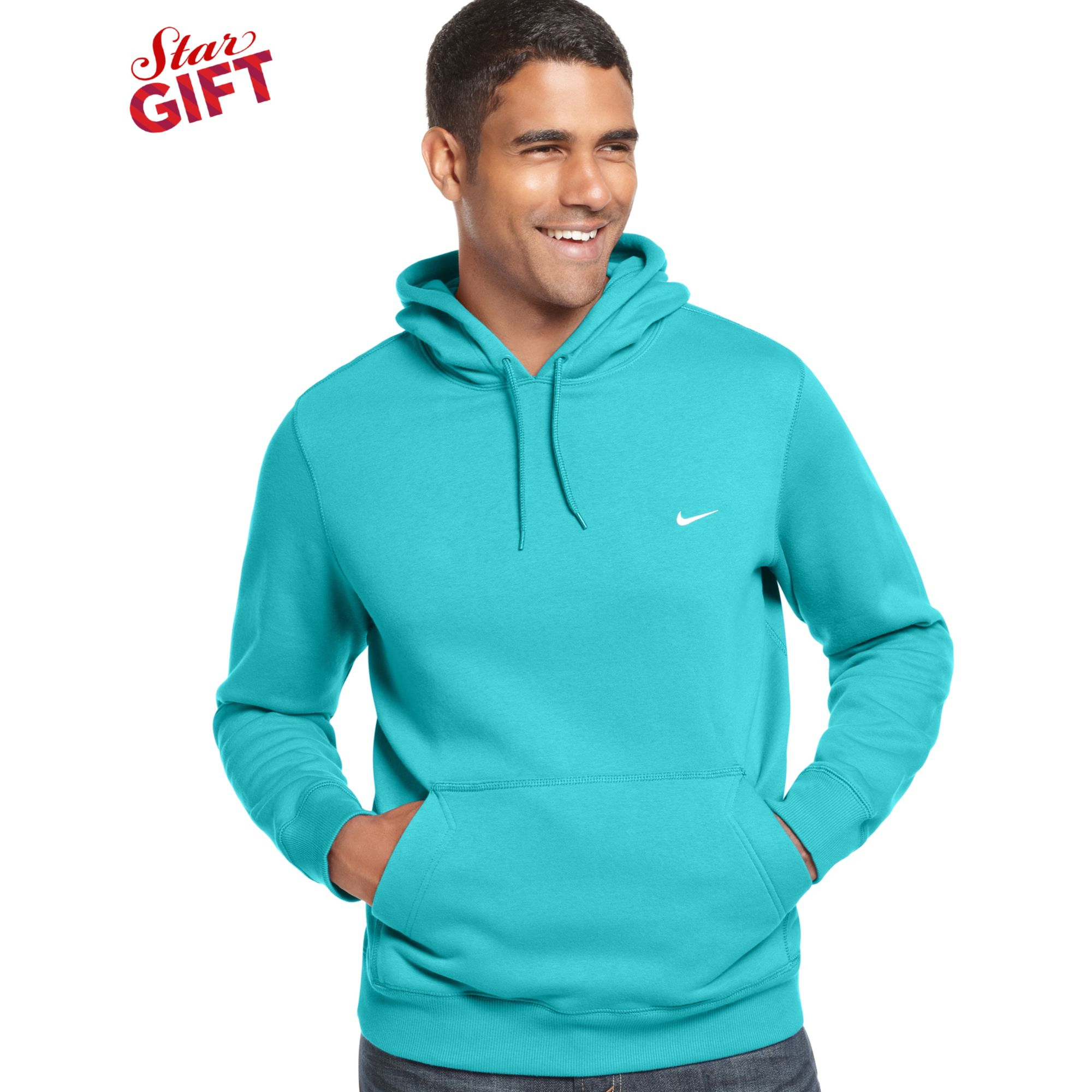 Nike classic pullover fleece hoodie in blue for men gamma for Pull over shirts for mens