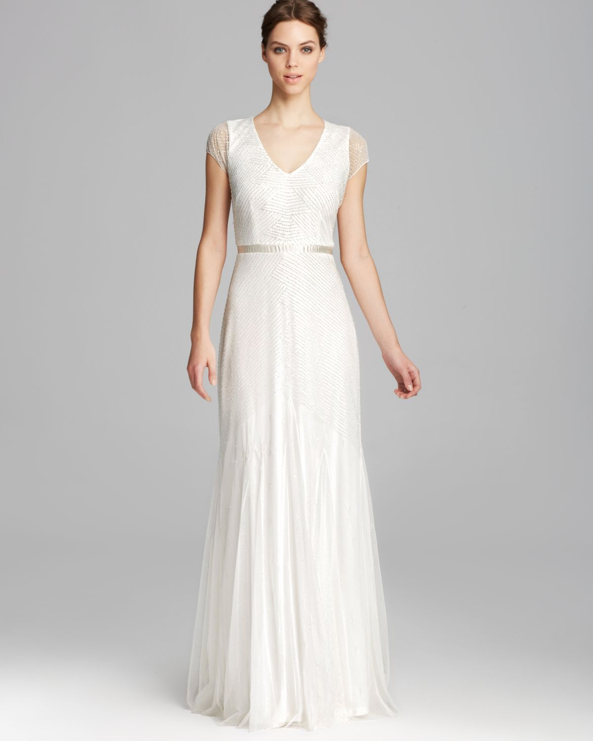 Adrianna Papell Gown - Cap Sleeve V Neck Beaded in White - Lyst