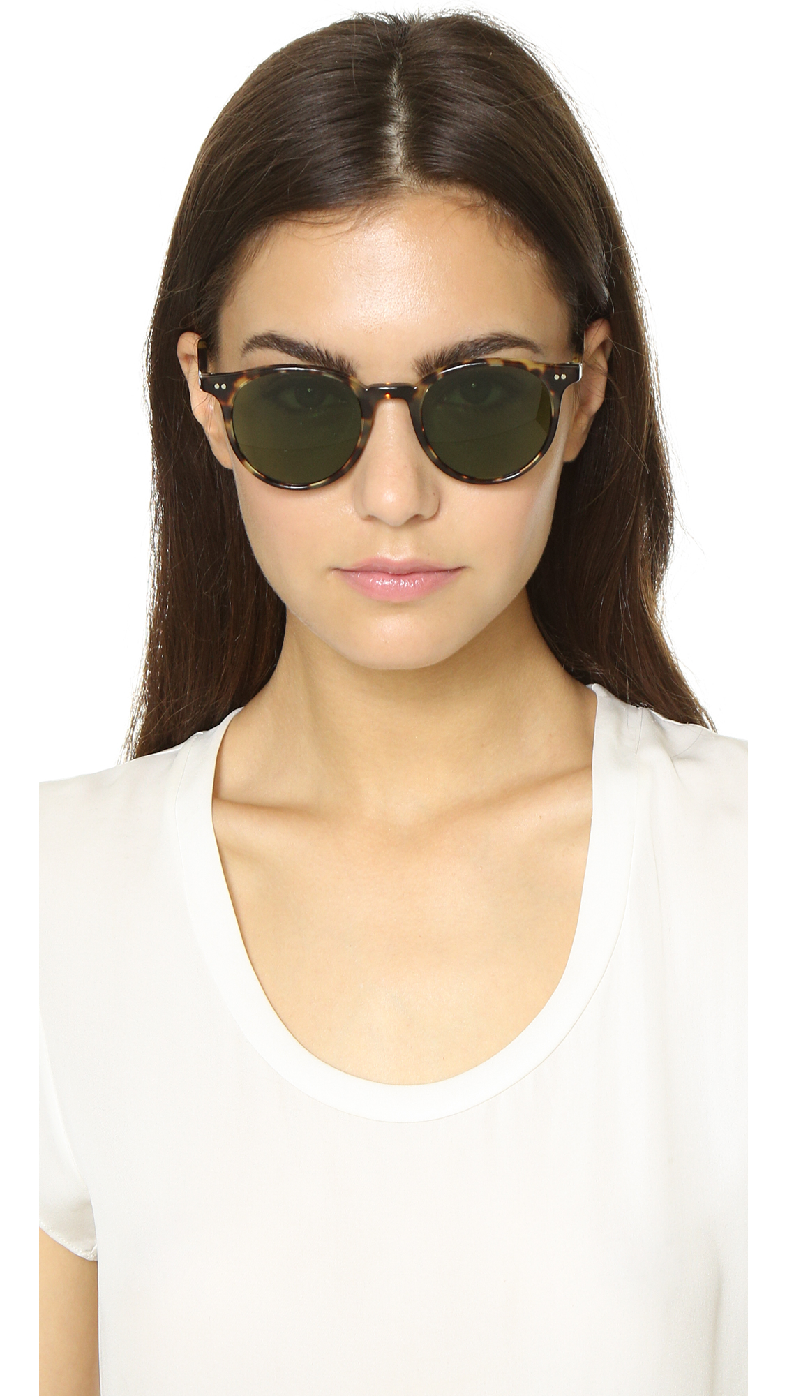 74ae8c36e3 Lyst - Oliver Peoples Delray Sunglasses - Dark Tortoise Brown green ...