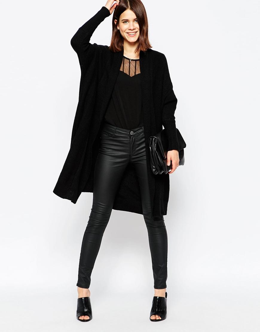 5468645bad5fd5 Lyst - Y.A.S Elisa Long Knit Cardigan in Black