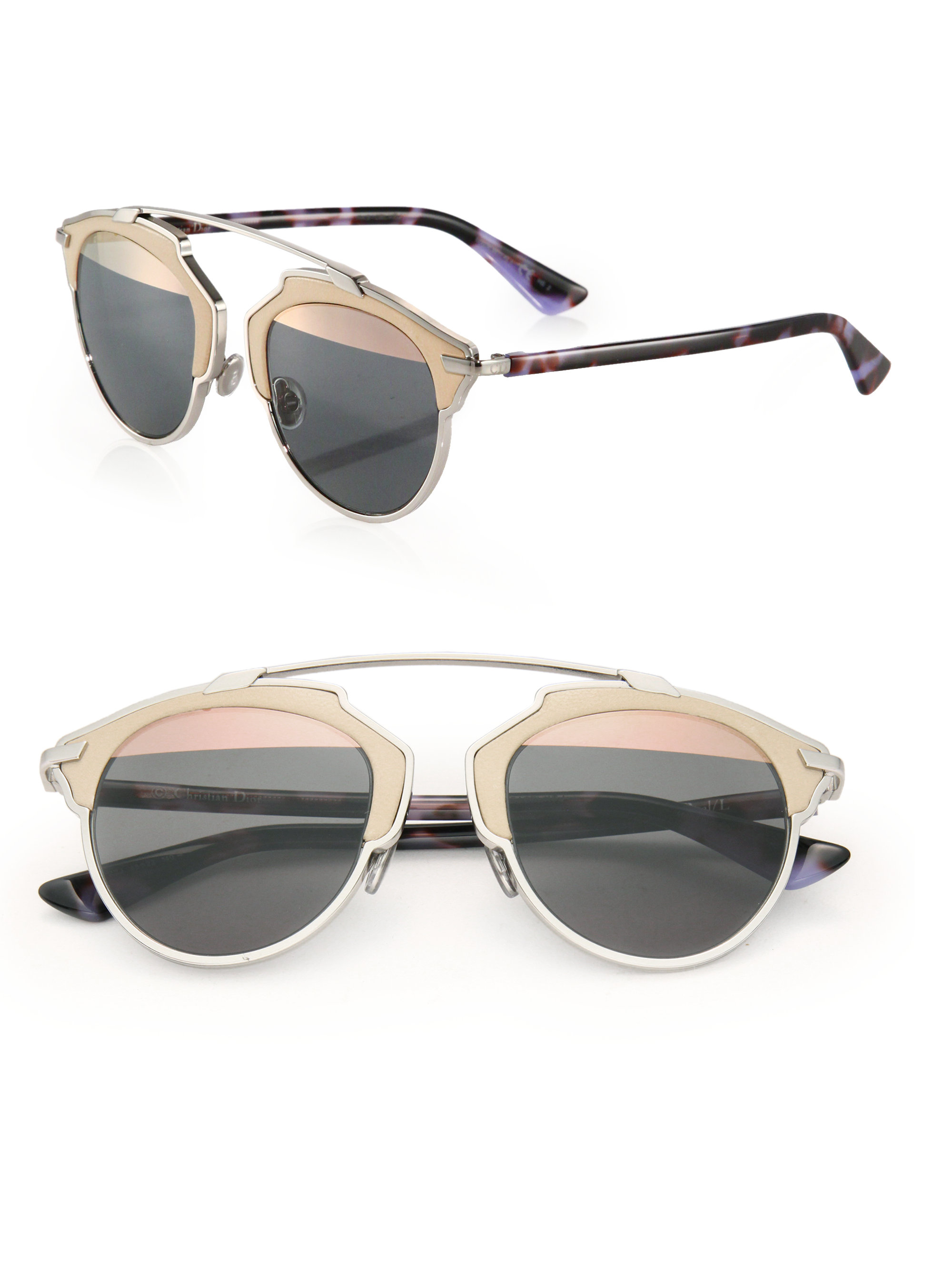 Glasses Metal Frame Dior : Dior So Real 48mm Leather-trim Metal Sunglasses in Pink Lyst