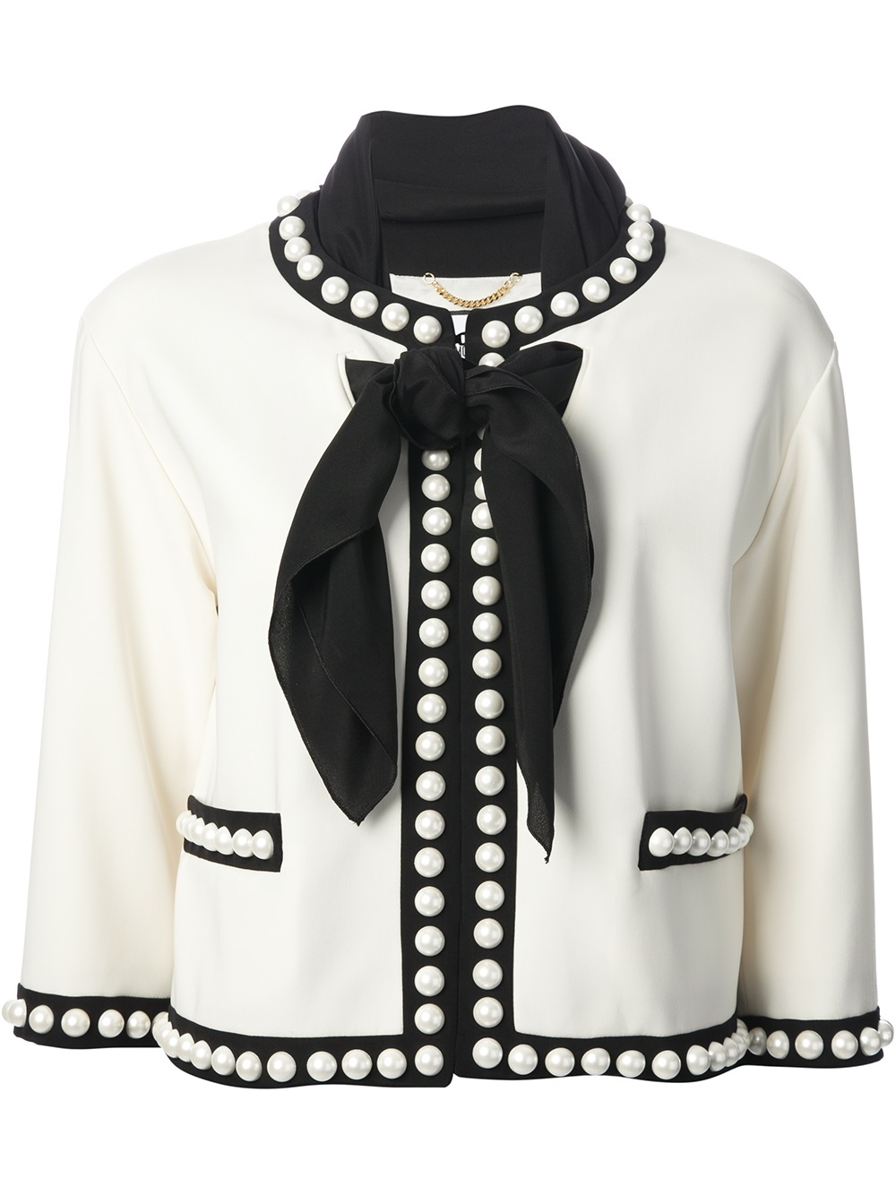 Lyst Moschino Pearl Embellished Jacket In White
