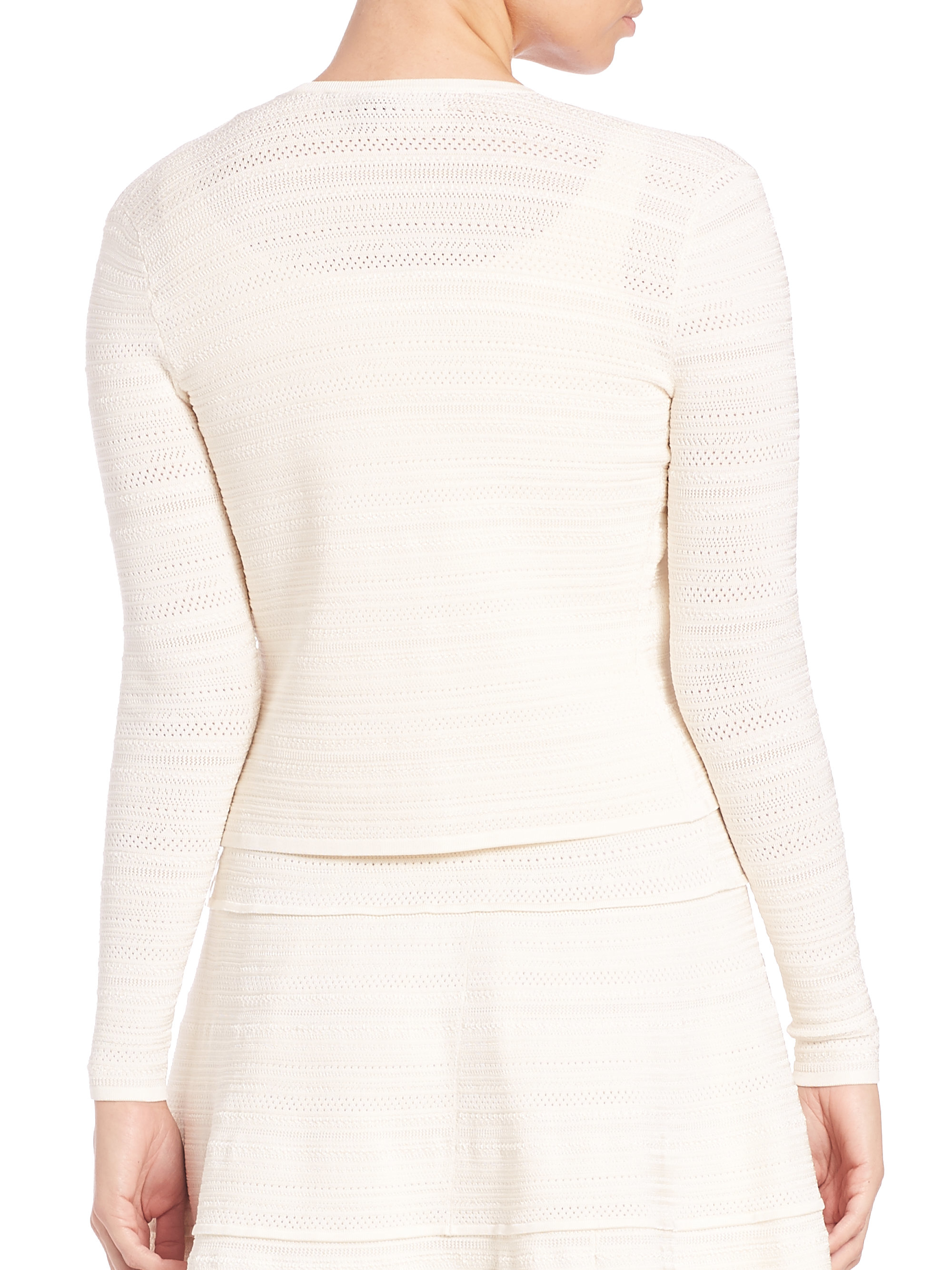 Ralph lauren collection Cropped Knit Cardigan in White | Lyst