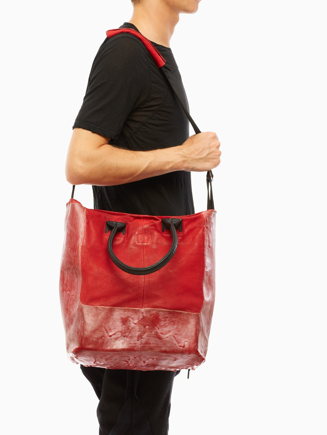 58aa4160d3dc Lyst - Oxs Rubber Soul Long Leather Bag in Red for Men