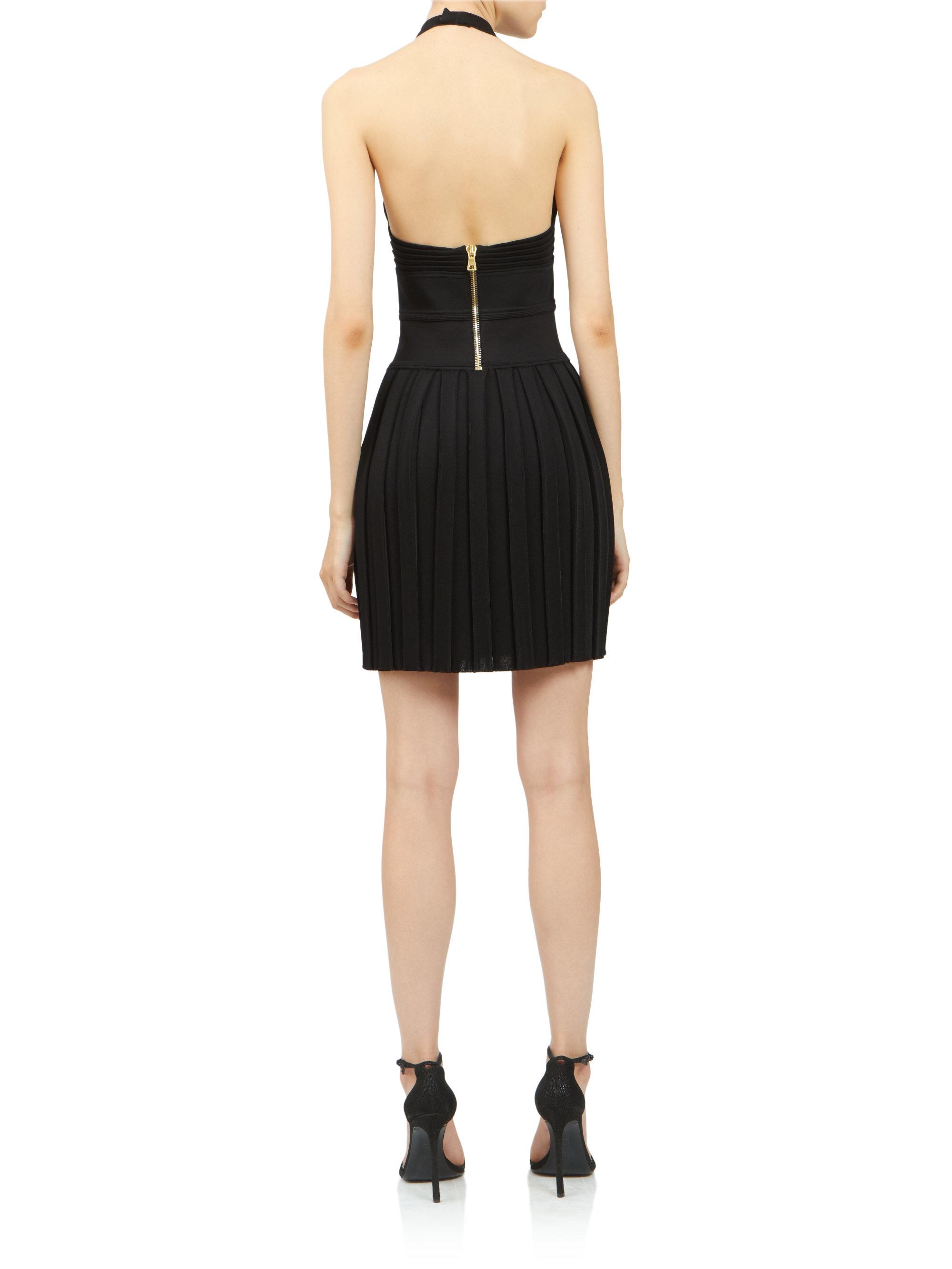 fb9afe232b2c Balmain Pleated Halter Cocktail Dress in Black - Lyst