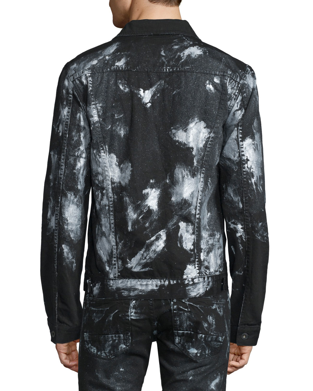 Prps Paint Splattered Button Down Denim Jacket In Black