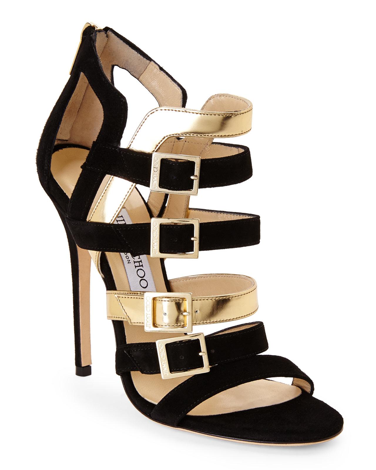 8897c543bdc Lyst - Jimmy Choo Black   Gold Booster Sandals in Black