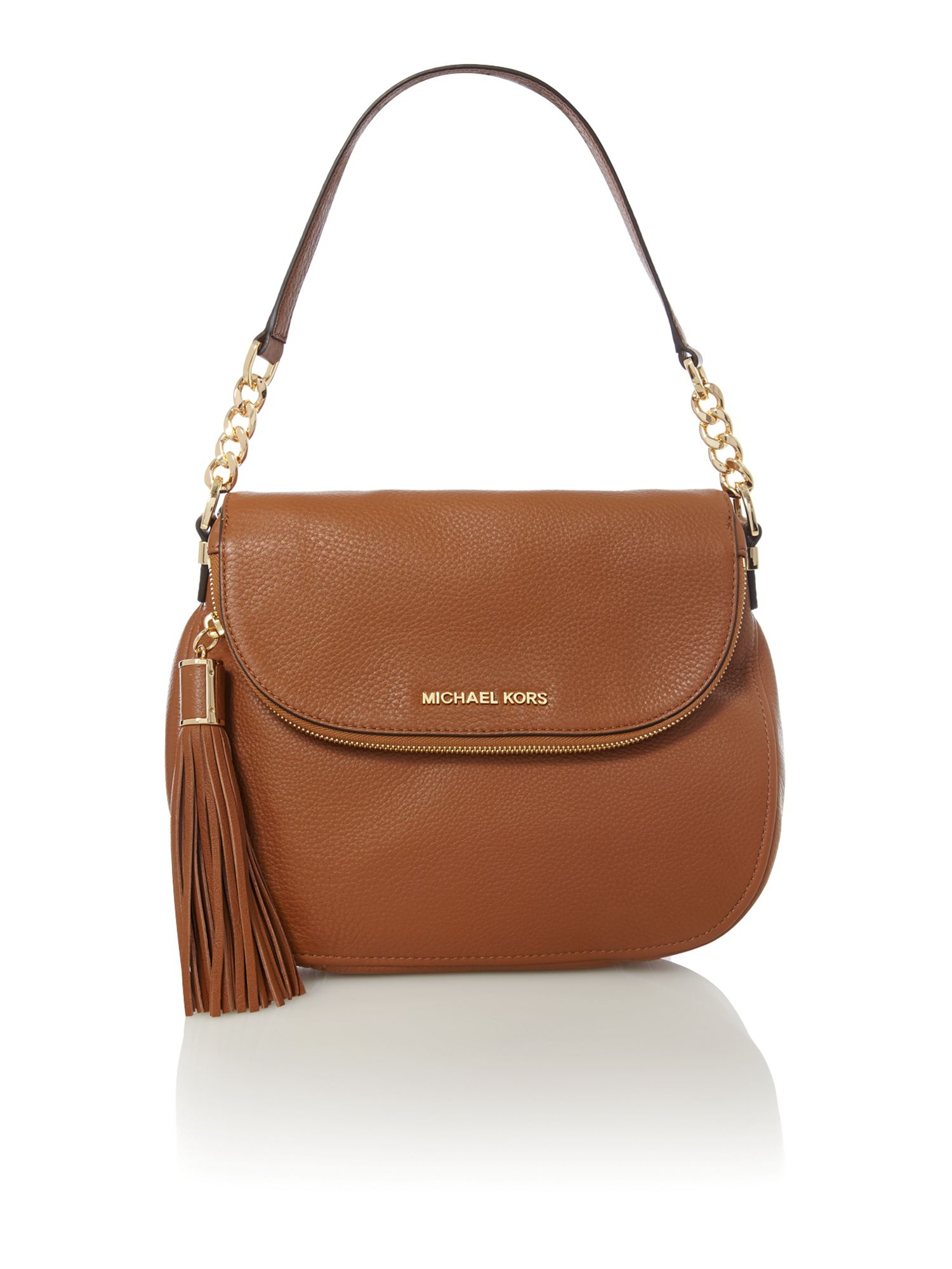 Michael kors Bedford Tan Flap Over Shoulder Bag in Brown | Lyst