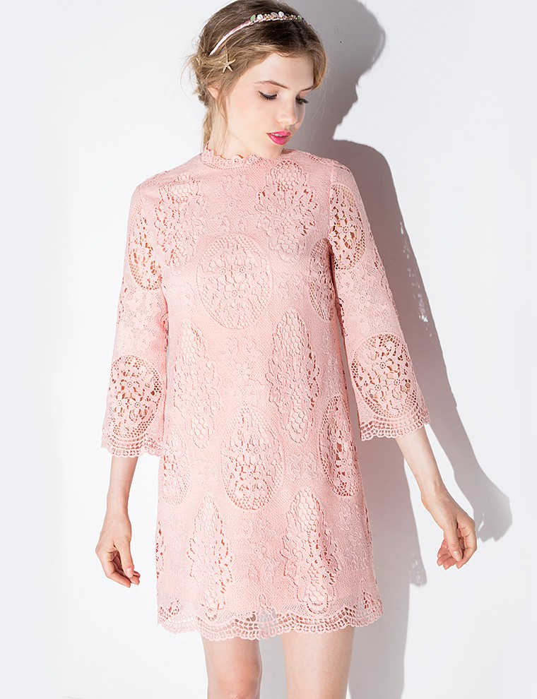 Lyst - Pixie Market Blush Lace Scalloped Dress in Pink