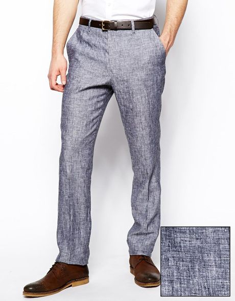 Asos Slim Fit Smart Trousers In 100 Linen In Gray For Men