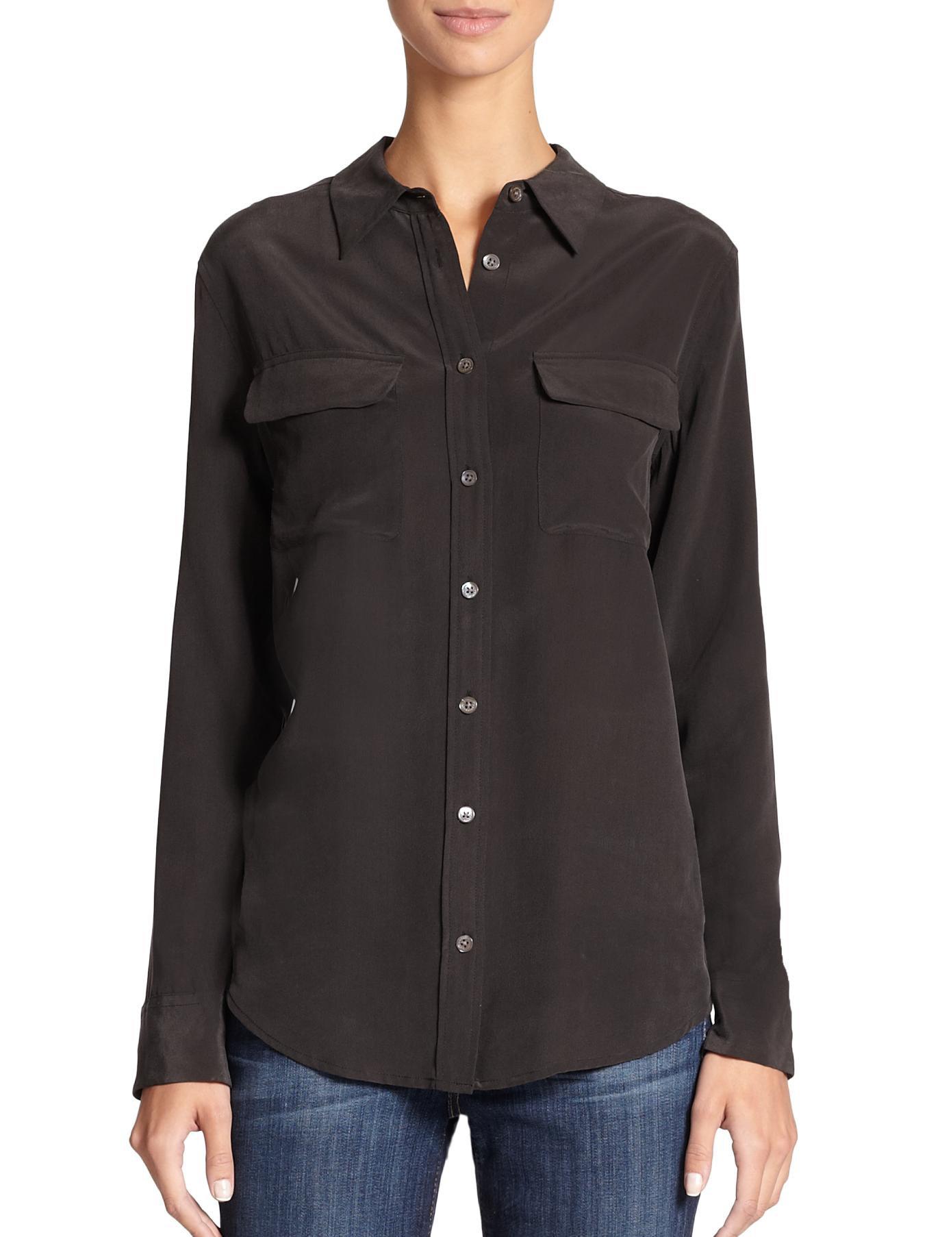 Equipment slim signature silk shirt in blue hydrangea lyst for Equipment black silk shirt