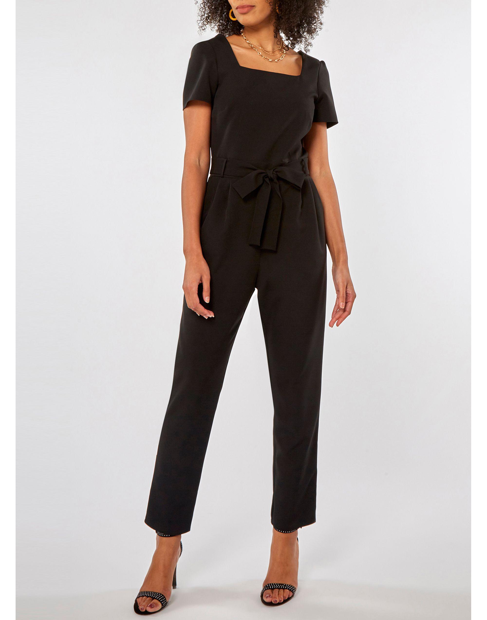 da030a458253 Dorothy Perkins Black Square Neck Belted Jumpsuit in Black - Lyst