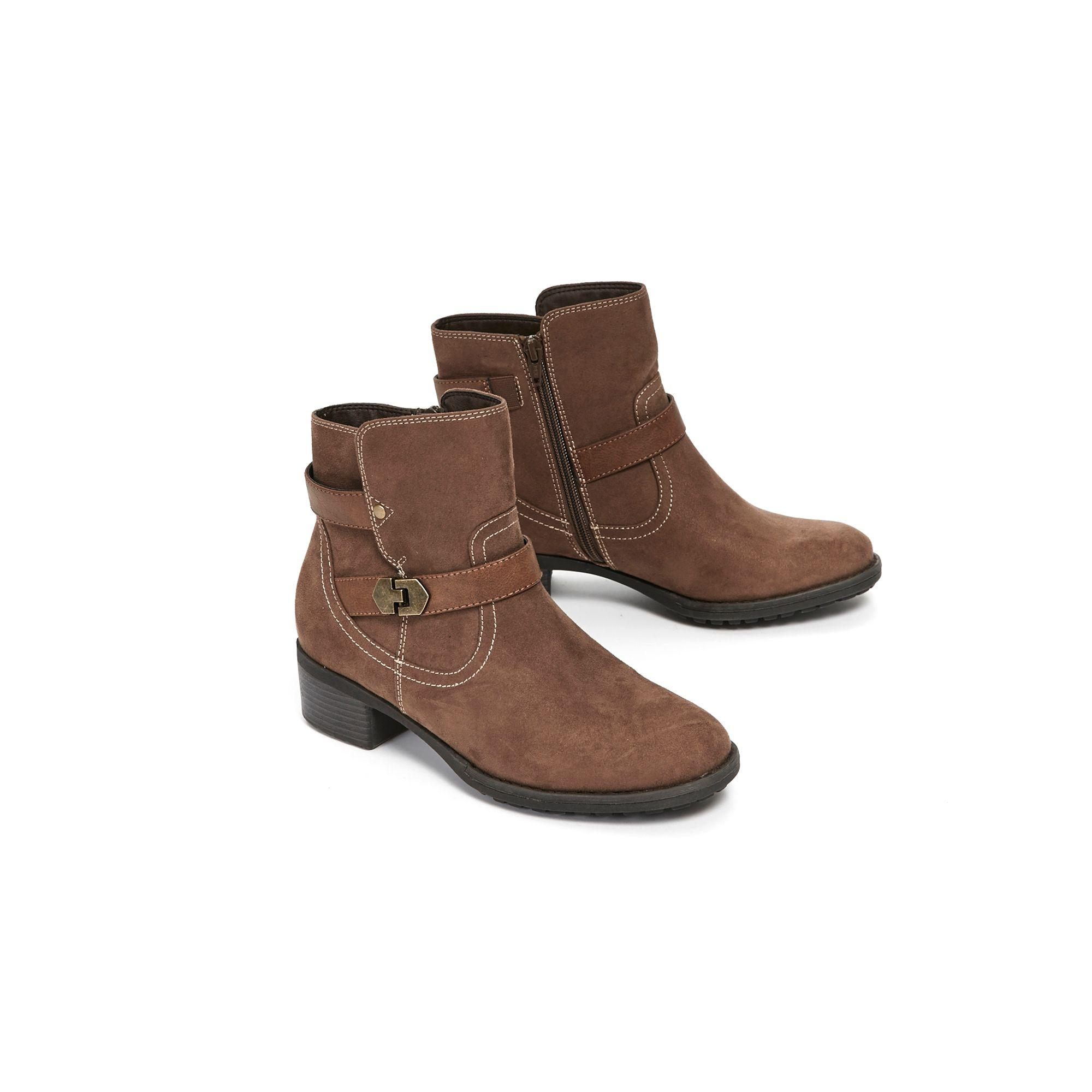 8e2c3d12cba ... Extra Wide Fit Taupe Double Buckle Ankle Boots - Lyst. View fullscreen