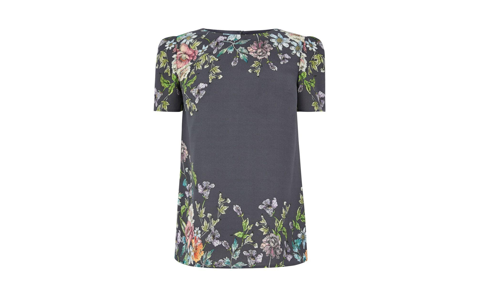 b655e1edf Oasis Grey 'adria' Placement T-shirt in Gray - Lyst