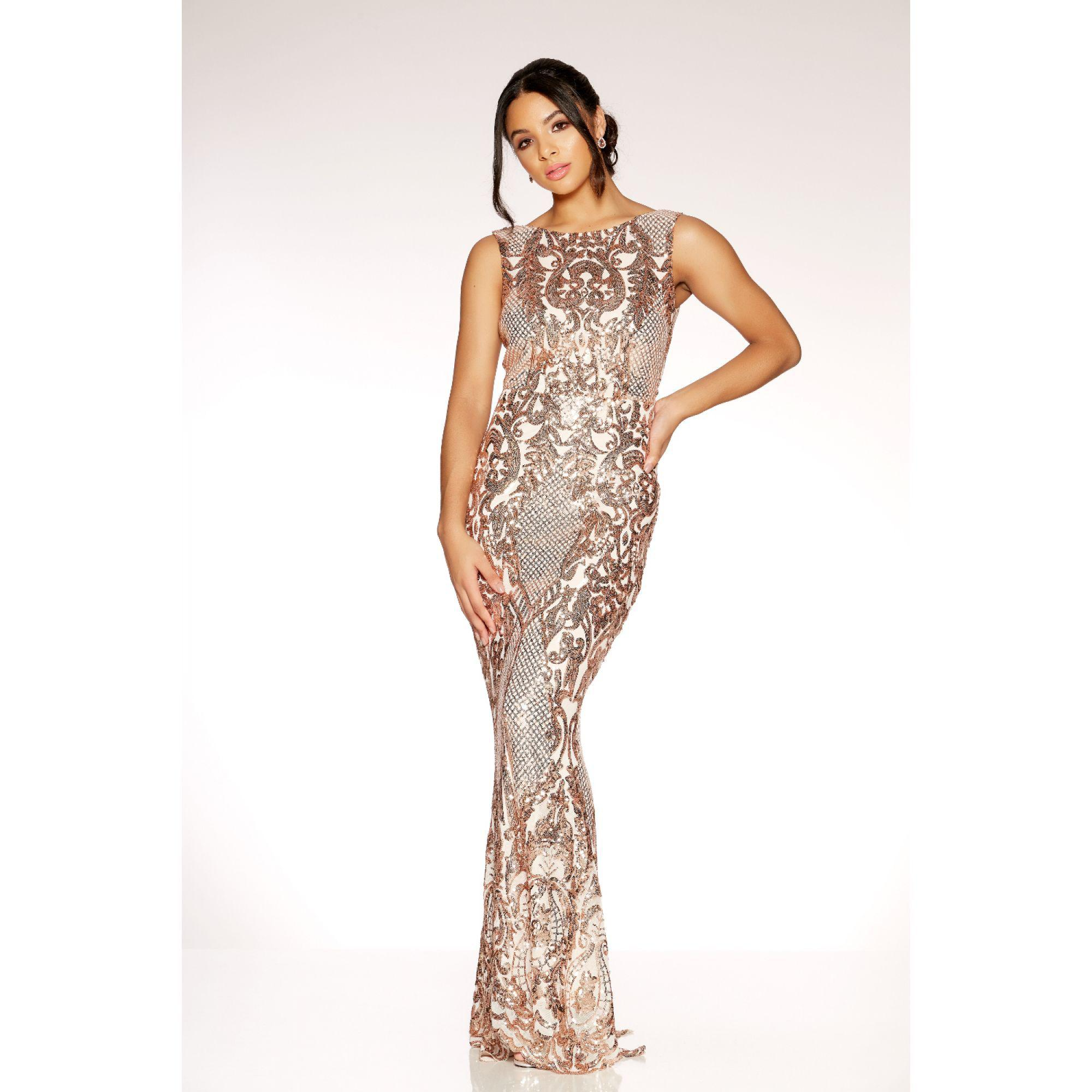 9716565432c Black And Gold Sequin High Neck Fishtail Maxi Dress - Data Dynamic AG