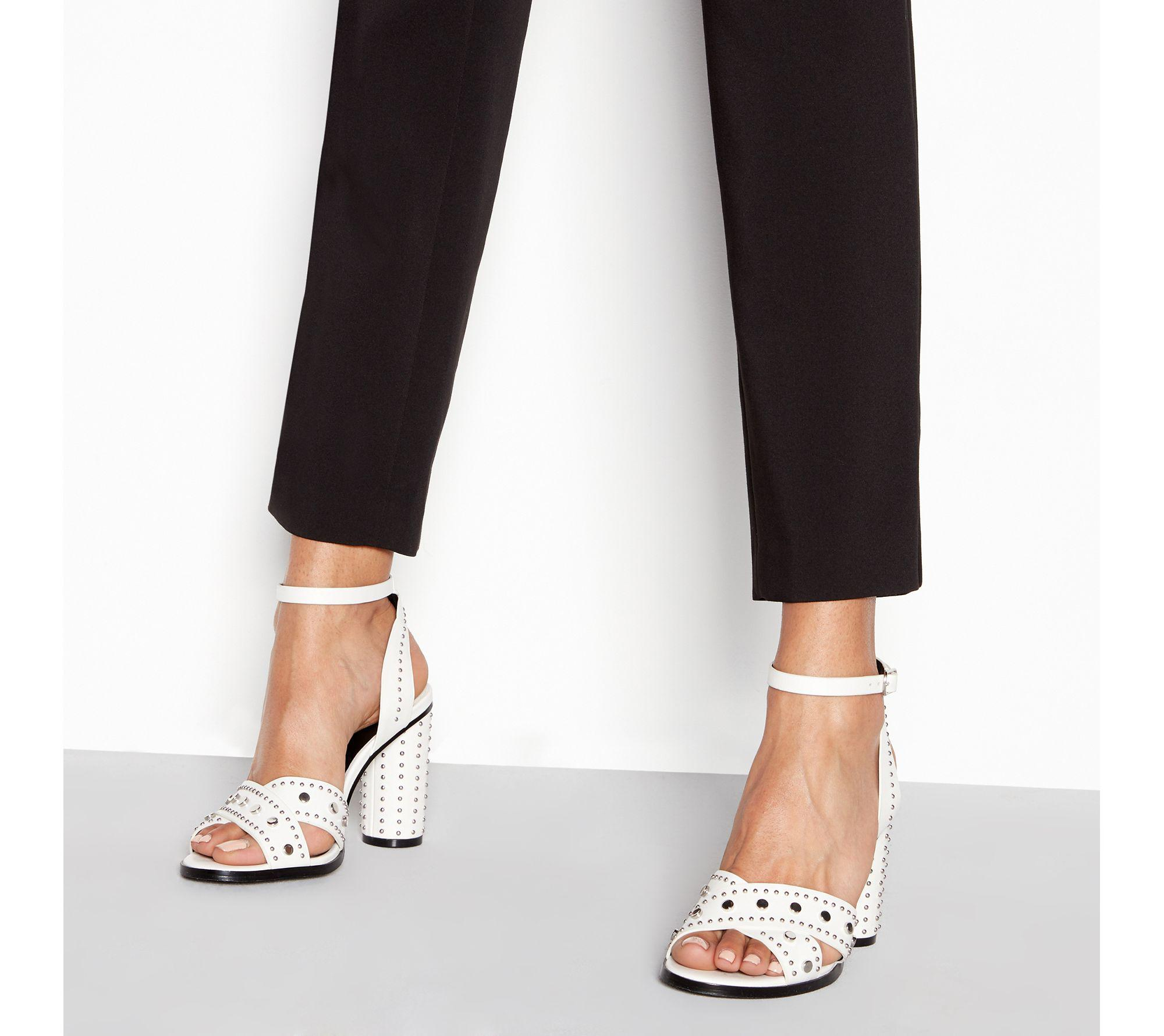 5757085f602 Faith White Stud  lynx  High Block Heel Ankle Strap Sandals in White ...