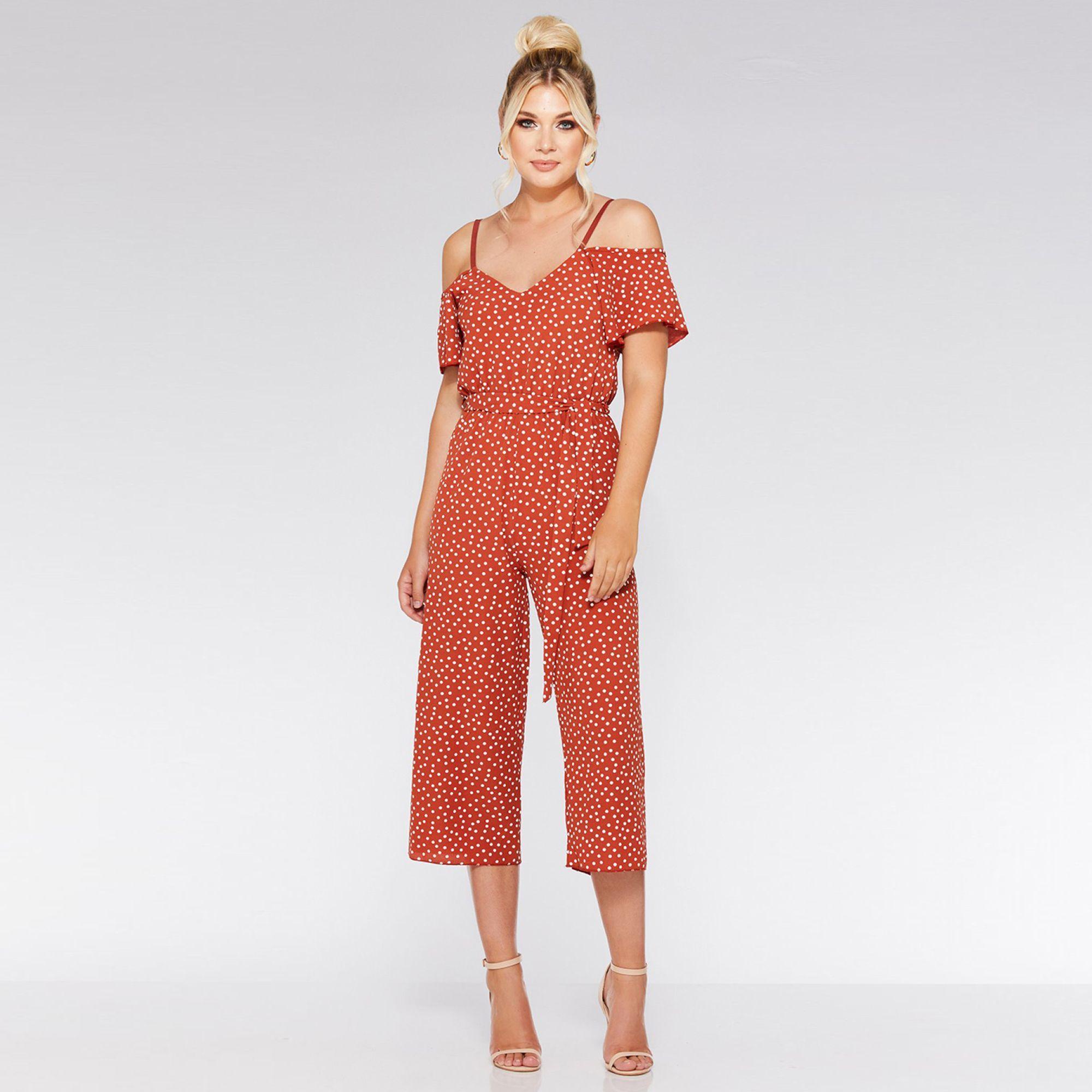 62a583a9f22 Quiz Rust Crepe Polka Dot Culottes Jumpsuit in Orange - Lyst