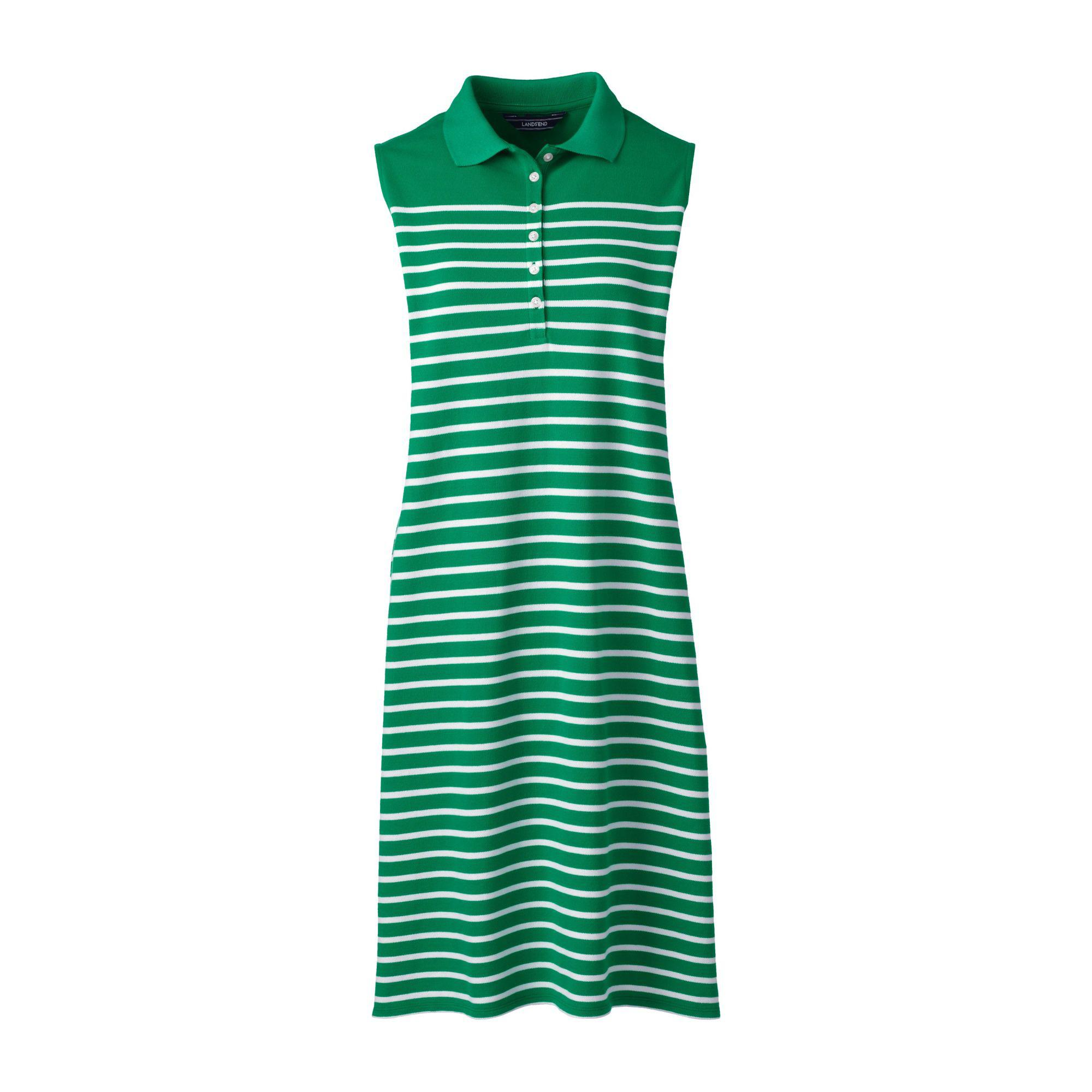 68a27a061a321f Lands  End Multi Regular Sleeveless Stripe Pique Polo Dress - Lyst