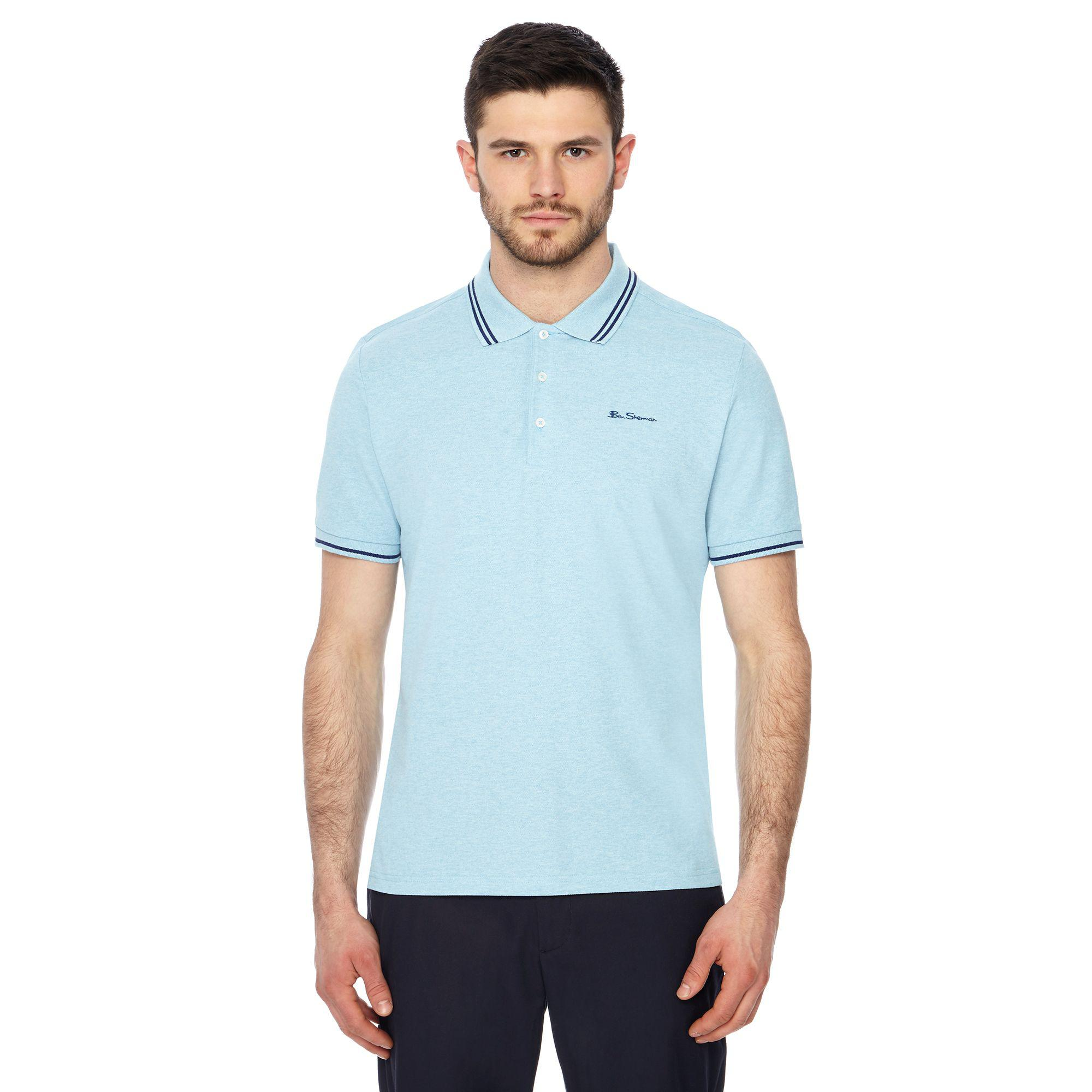64990d74c Ben Sherman - Big And Tall Light Blue Embroidered Logo Polo Shirt for Men -  Lyst. View fullscreen