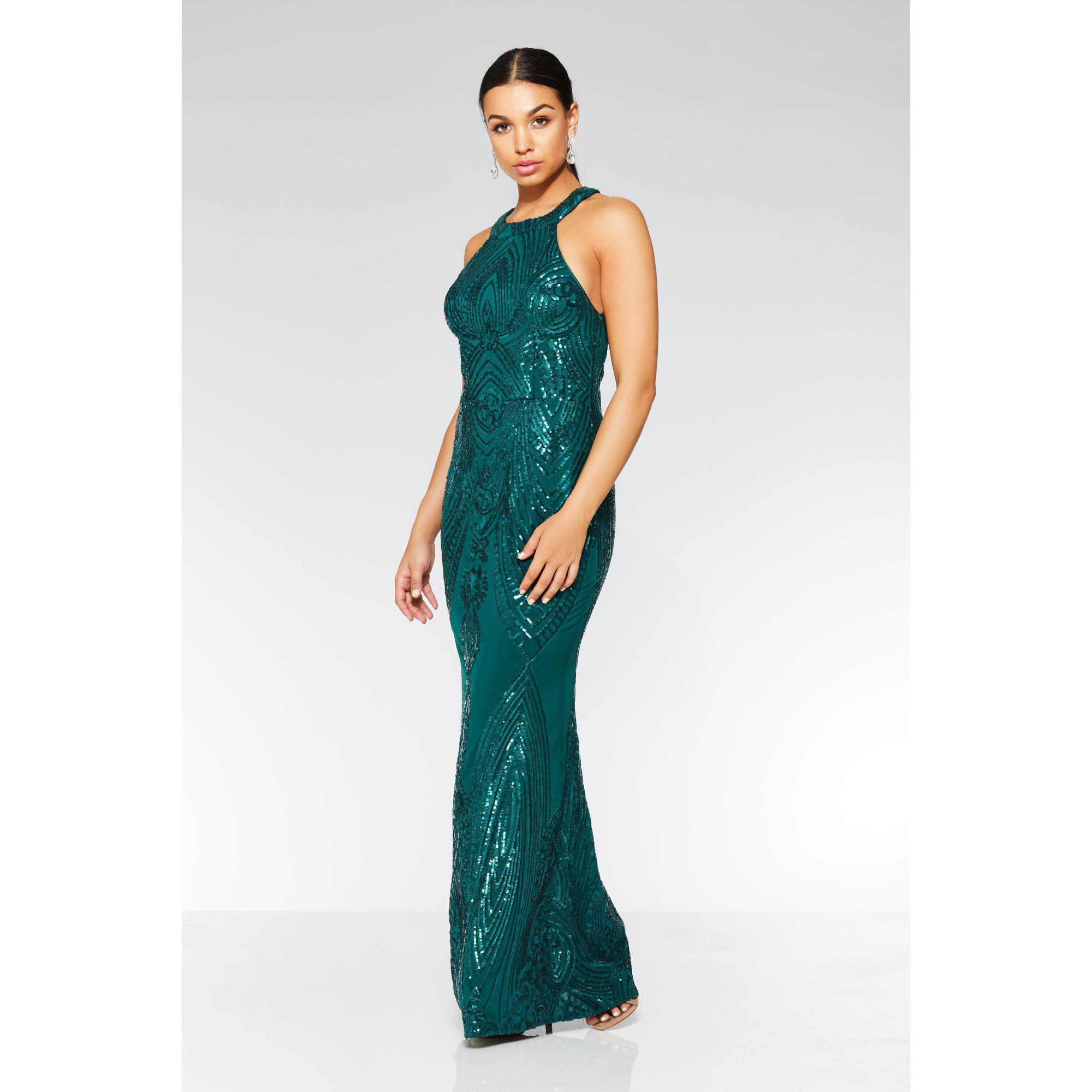 94b3d3ae45 Quiz Olivia s Bottle Green Sequin High Neck Fishtail Maxi Dress in ...