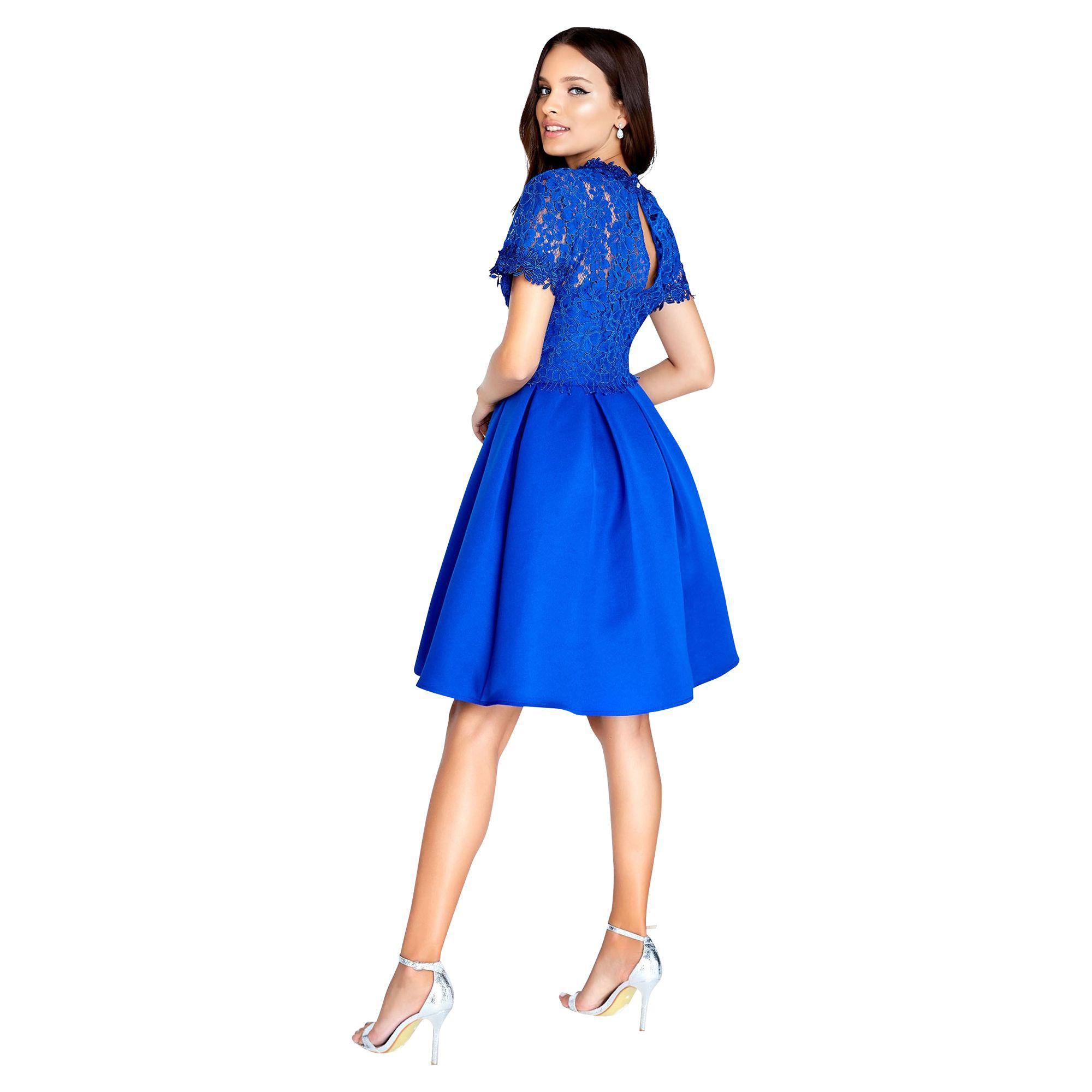 Yumi Womens Lace Skater Dress Cobalt Blue  Cut Out Floral Dress UK 14 RRP £65
