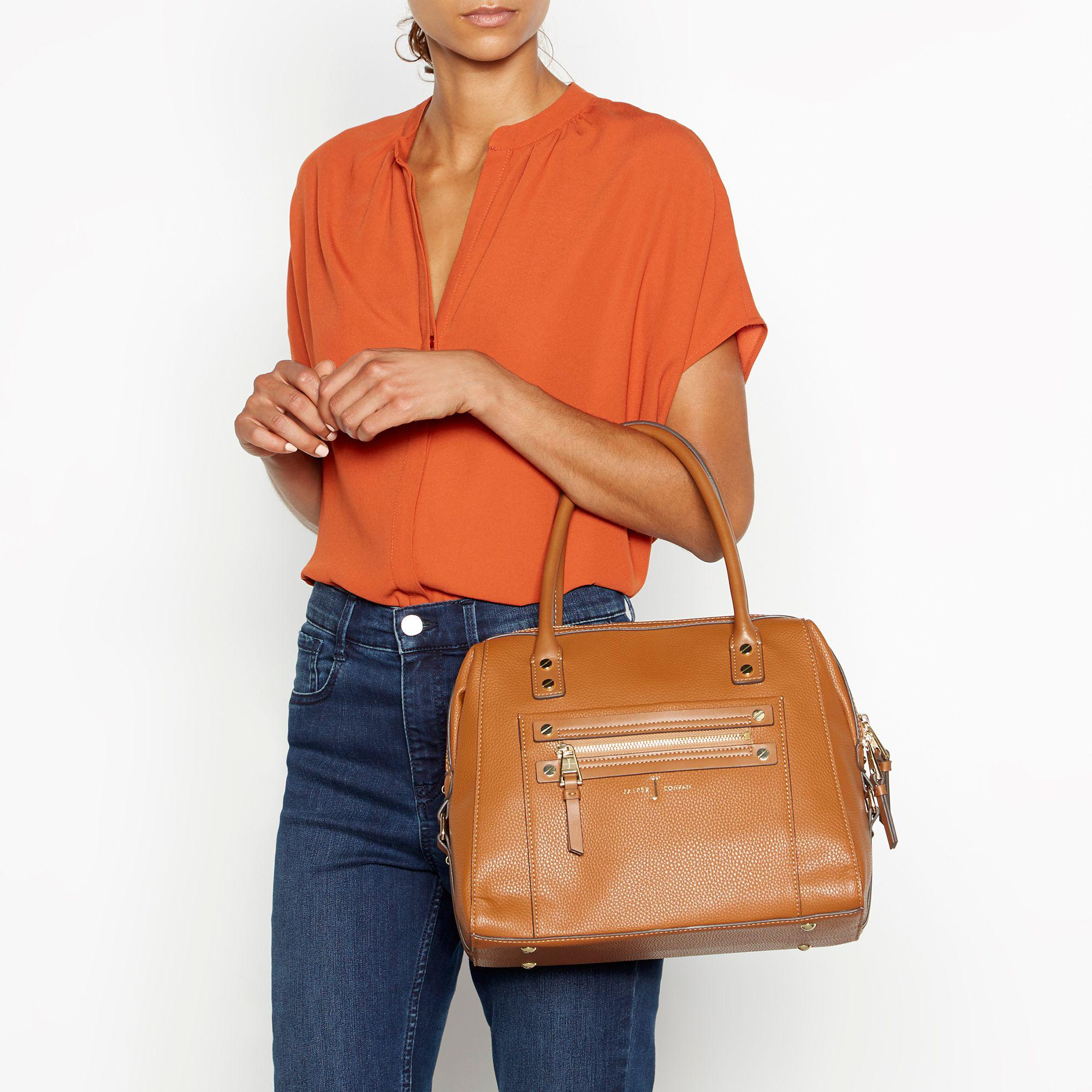 a94db4418d J By Jasper Conran - Brown Tan Stud Detail Bowler Bag - Lyst. View  fullscreen