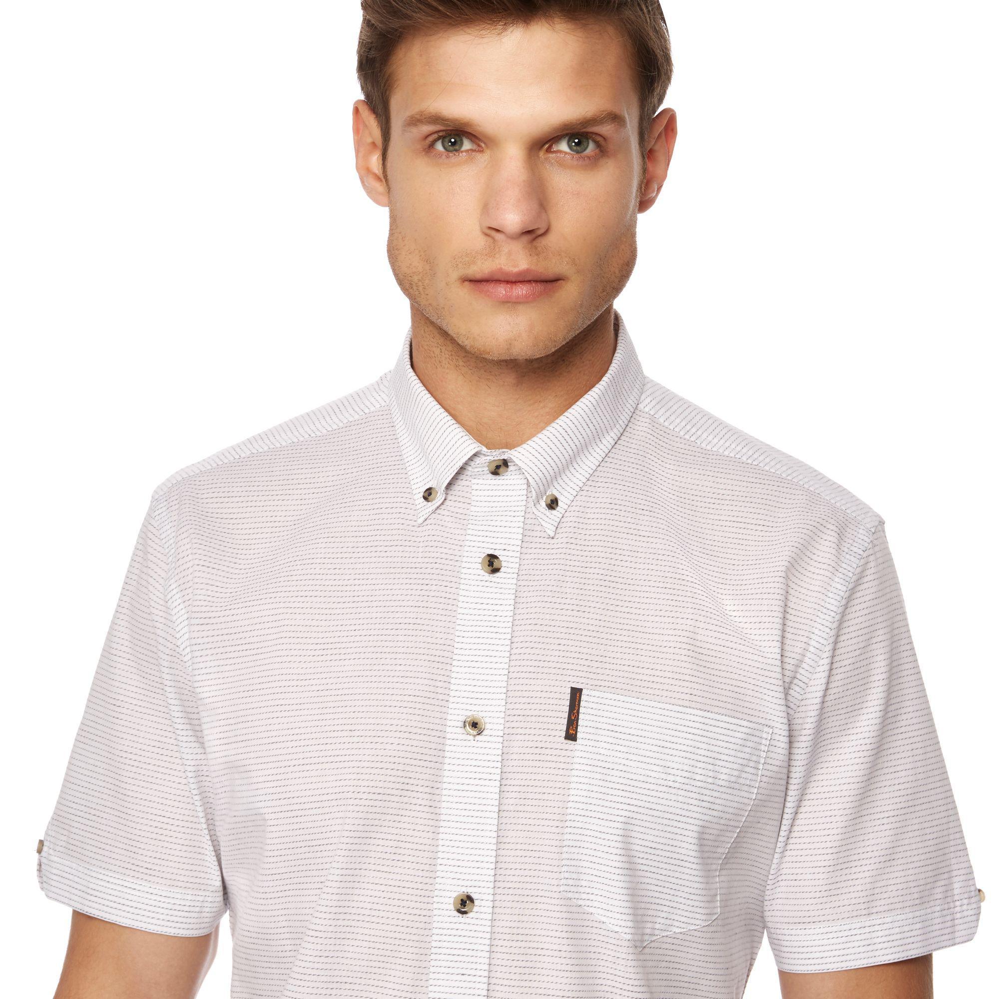ce4a01c452 Ben Sherman - White Twisted Stripe Print Short Sleeve Shirt for Men - Lyst.  View fullscreen