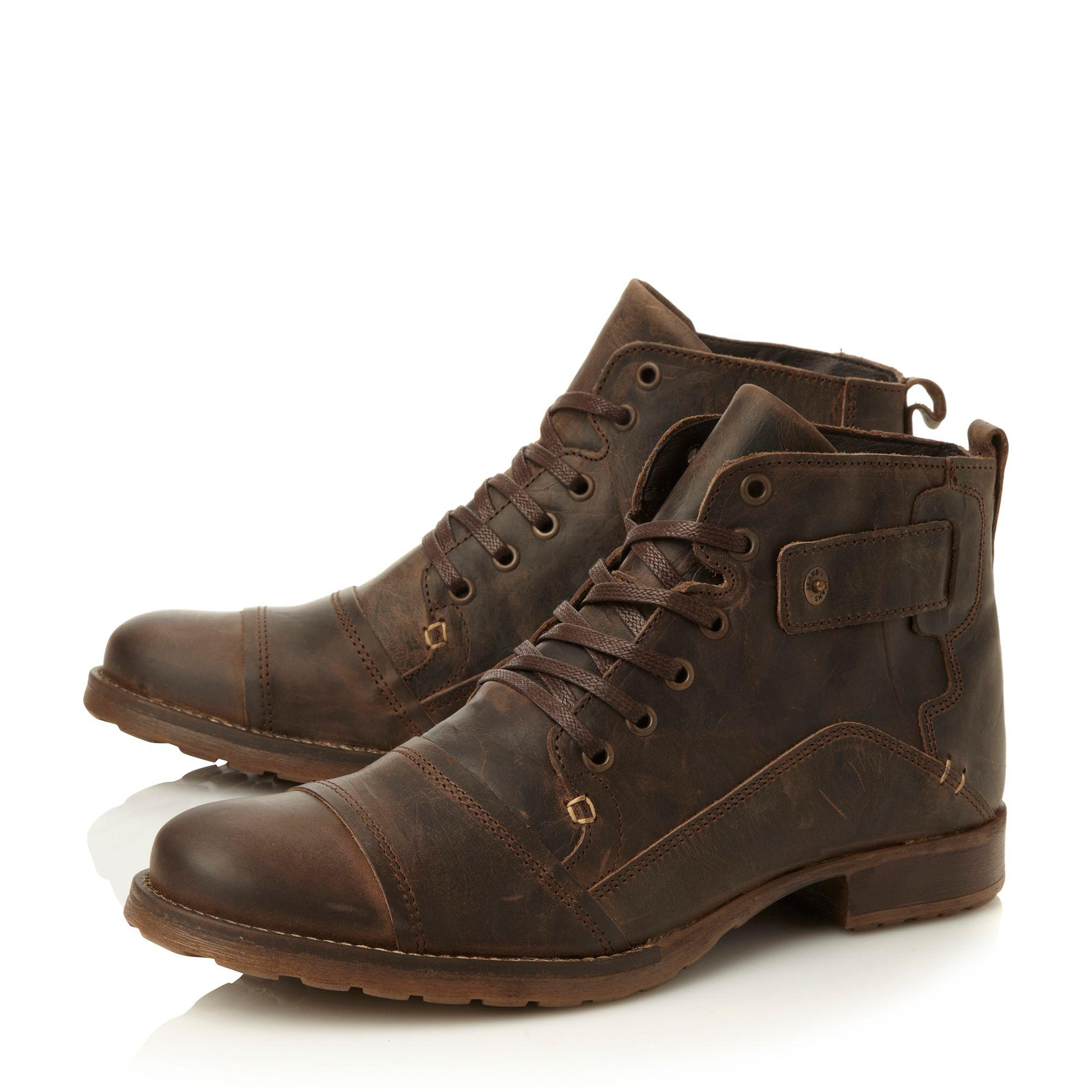Dark brown 'Simon' heavy duty leather ankle boot free shipping footaction o9mrPg6v7