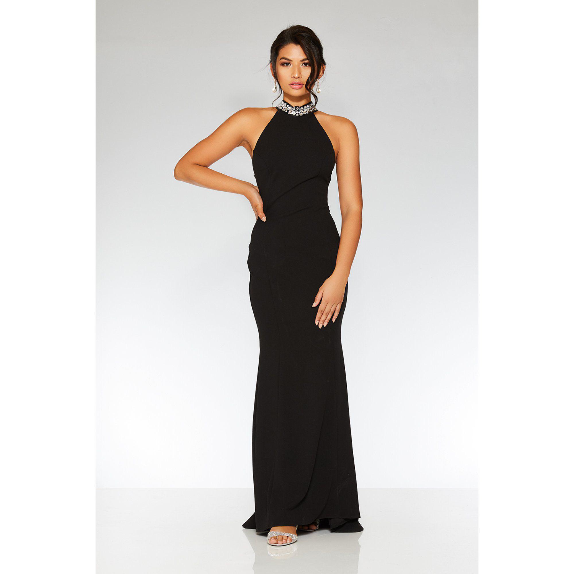 966416d7daf Quiz Black Embellished Back Fishtail Maxi Dress in Black - Lyst
