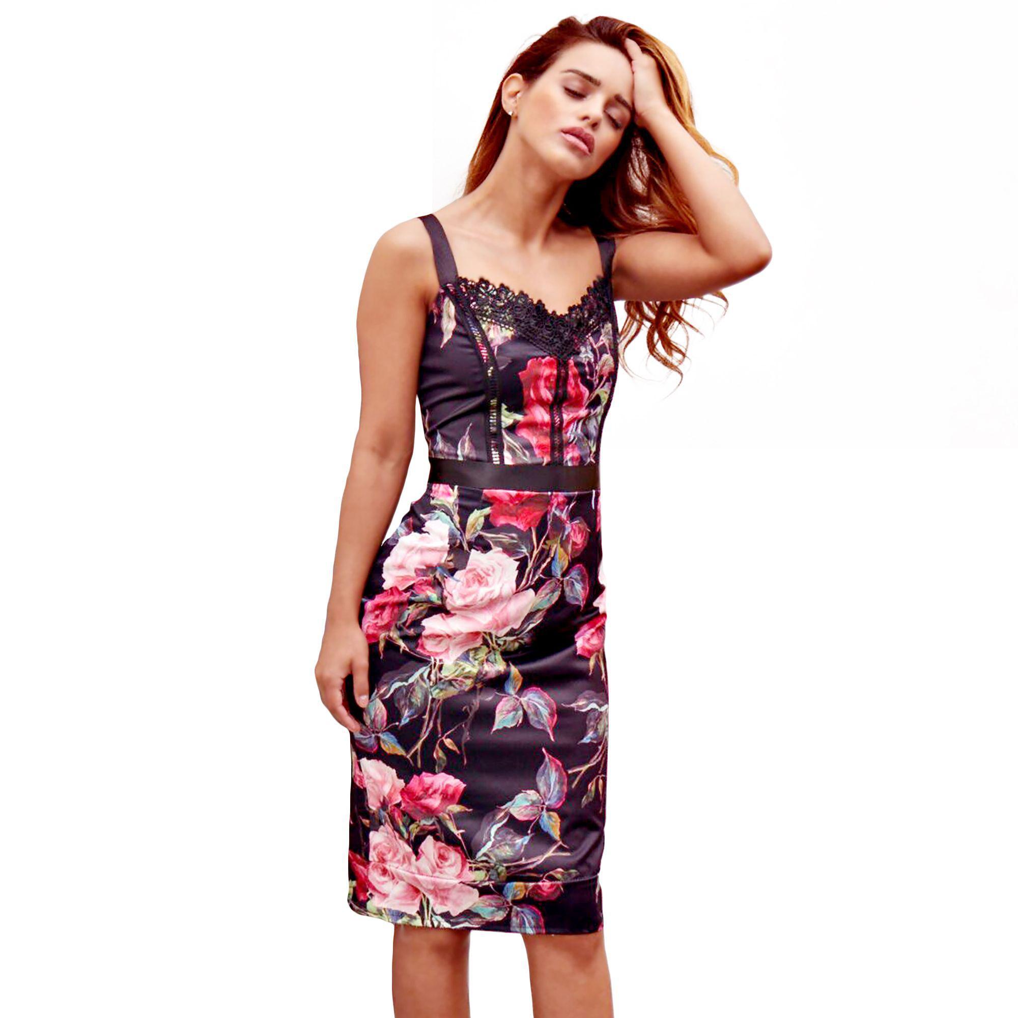 3864e0ee327 Lipstick Boutique Multi Fl Print Giulie Bodycon Midi Dress Lyst