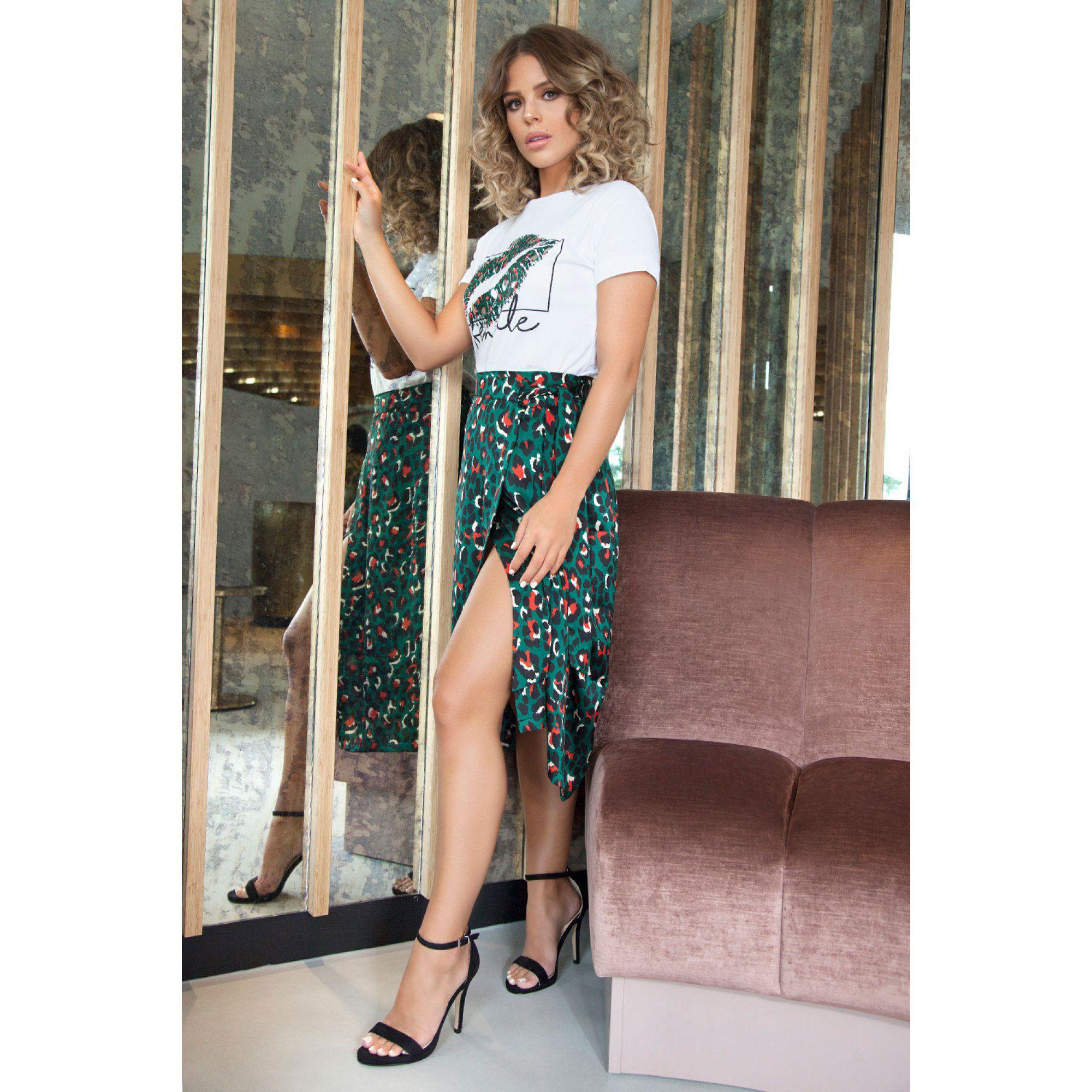 aade3278f3ec Quiz Towie Green And Orange Satin Leopard Print Wrap Skirt in Green ...
