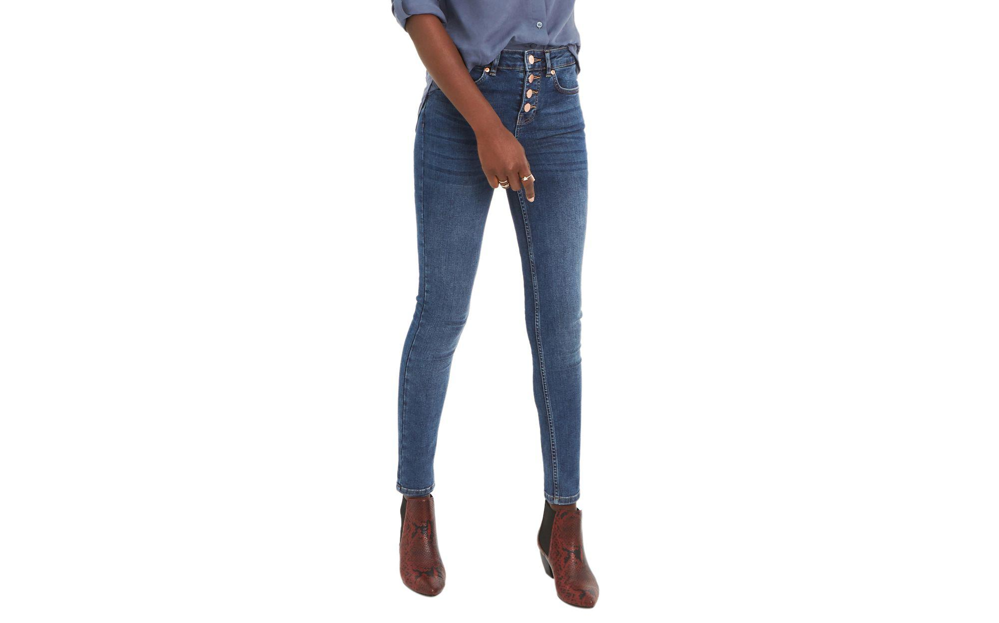 0ad9ef862f1ac4 Oasis Denim Button Through Skinny 'lily' Jeans in Blue - Lyst