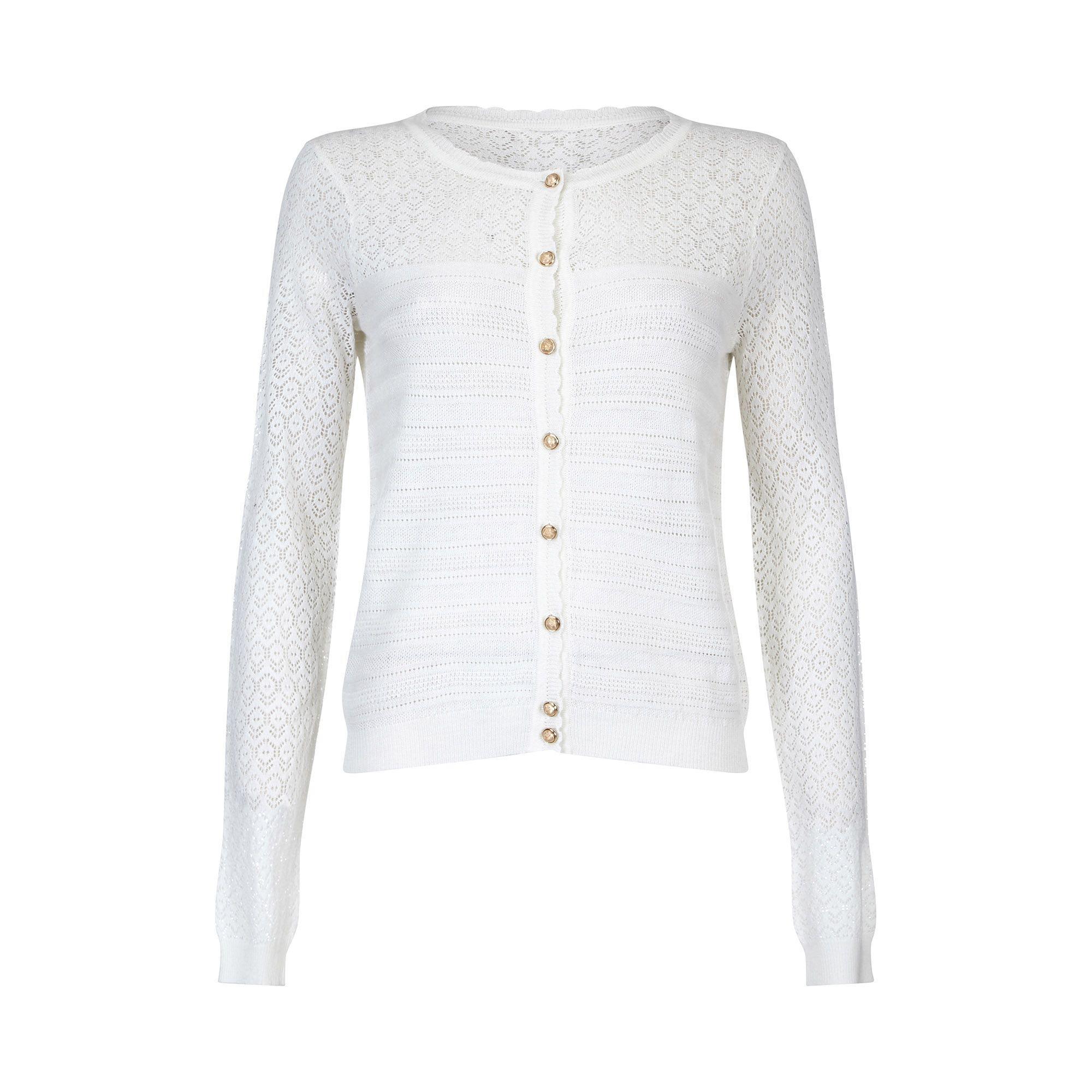 372ef8259d1 Yumi  - White Ivory Ripple Stitch Lace Cardigan - Lyst. View fullscreen