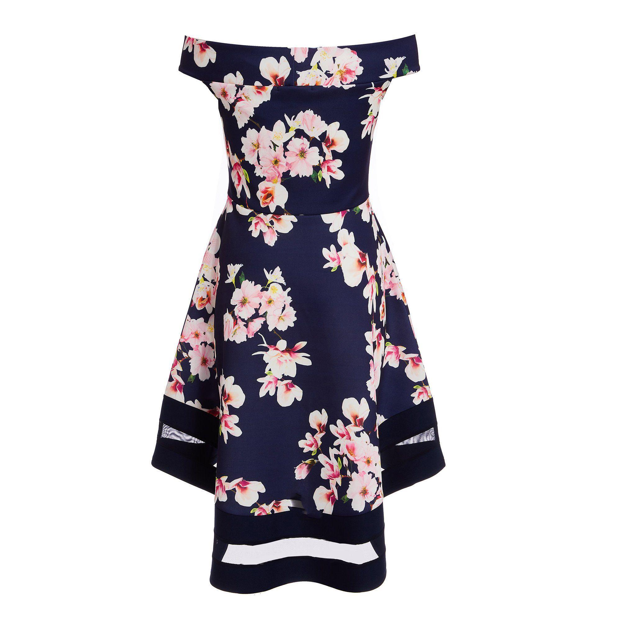 9114a4e345d3 Quiz - Blue Navy Pink And Cream Floral Bardot Dip Hem Dress - Lyst. View  fullscreen