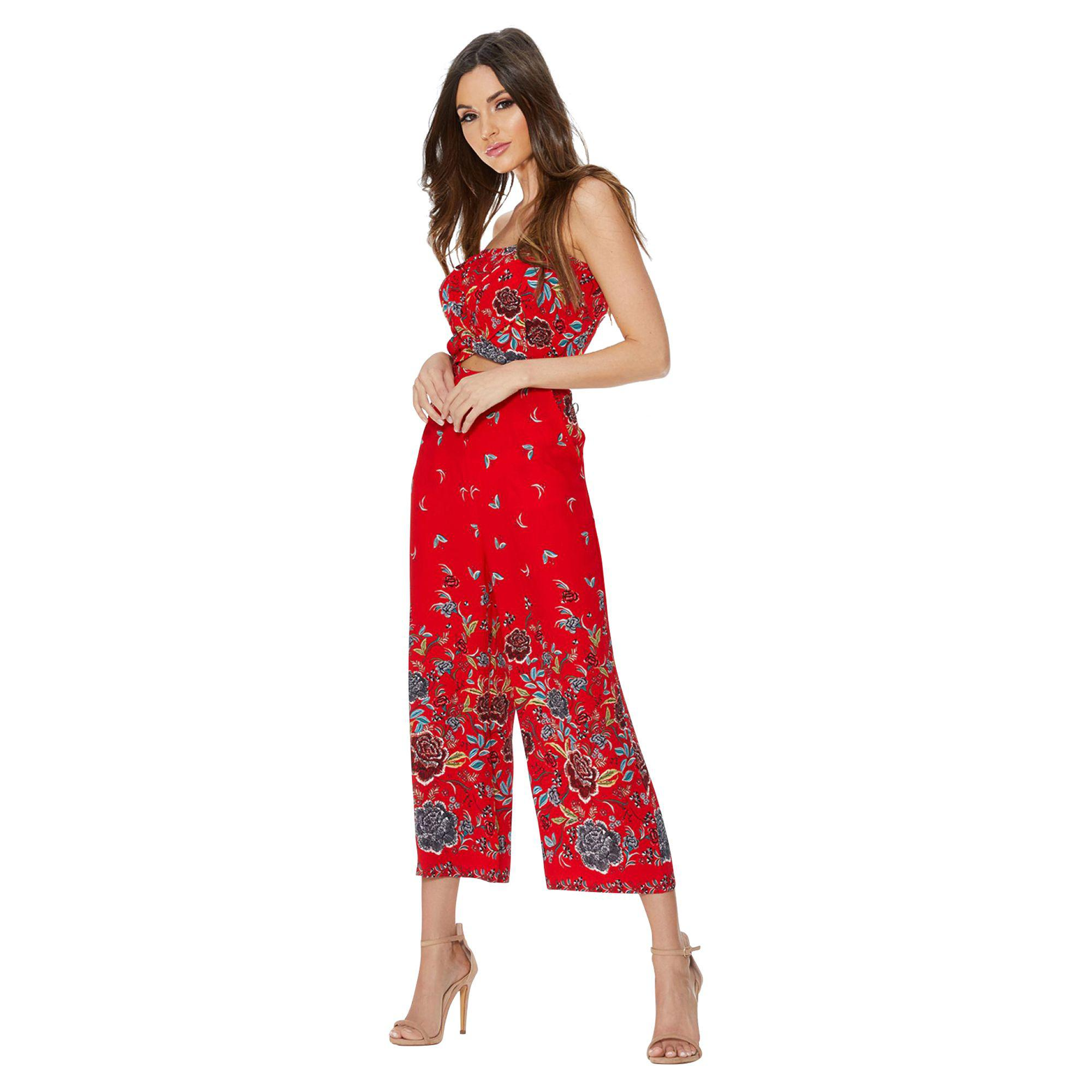 f5b55a9ffa8d Quiz Red Crepe Floral Print Culotte Jumpsuit in Red - Lyst