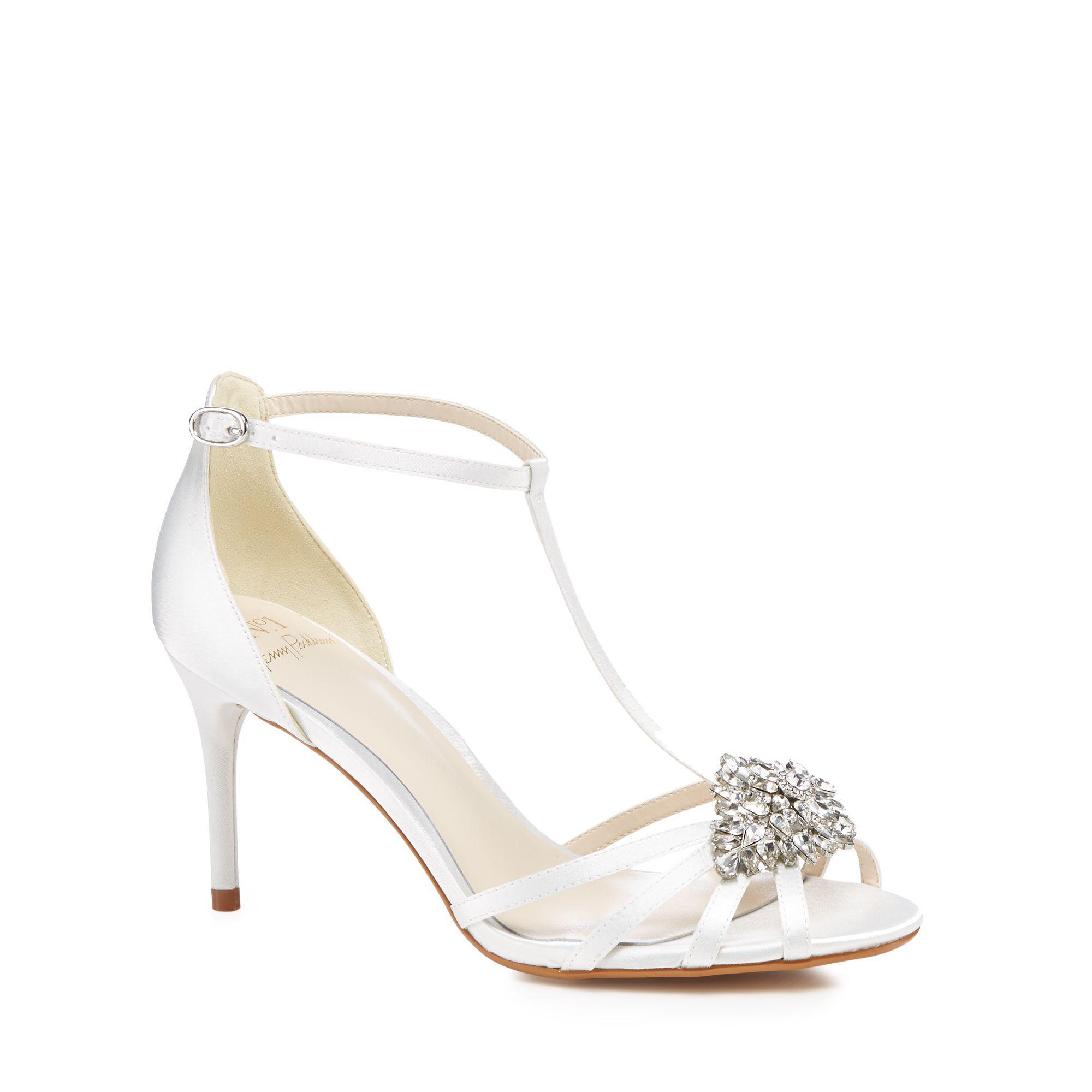 50ab0a7d2cf0 Jenny Packham. Women s White Ivory Satin  perdita  High Stiletto Heel T-bar  Sandals