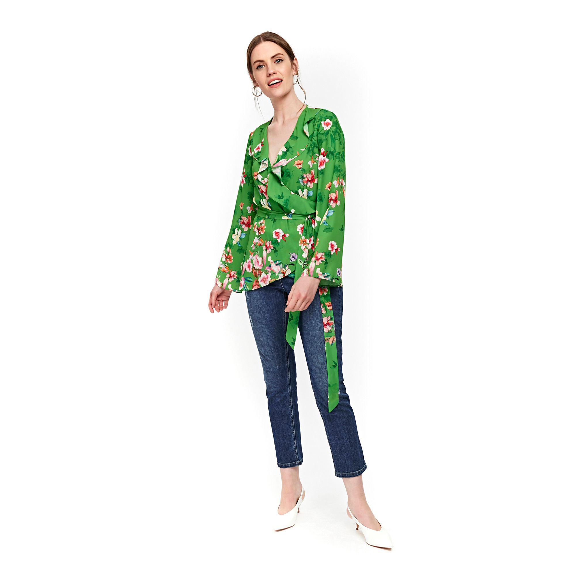 ef8f5aeed93bef Wallis Green Floral Print Wrap Top in Green - Lyst