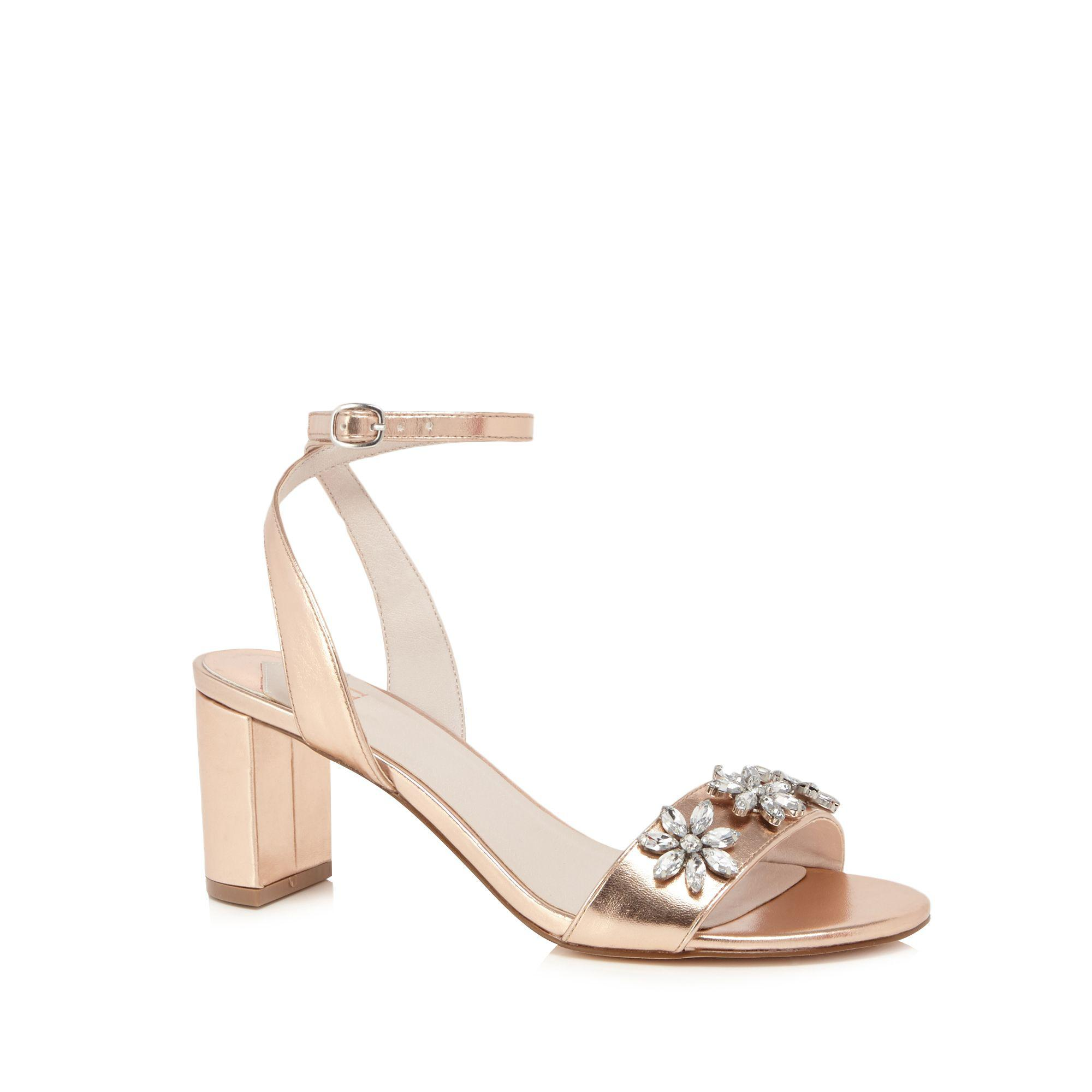 f05d8a87e50 Faith Rose Gold  dom-zal  Mid Block Heel Ankle Strap Sandals in Pink ...