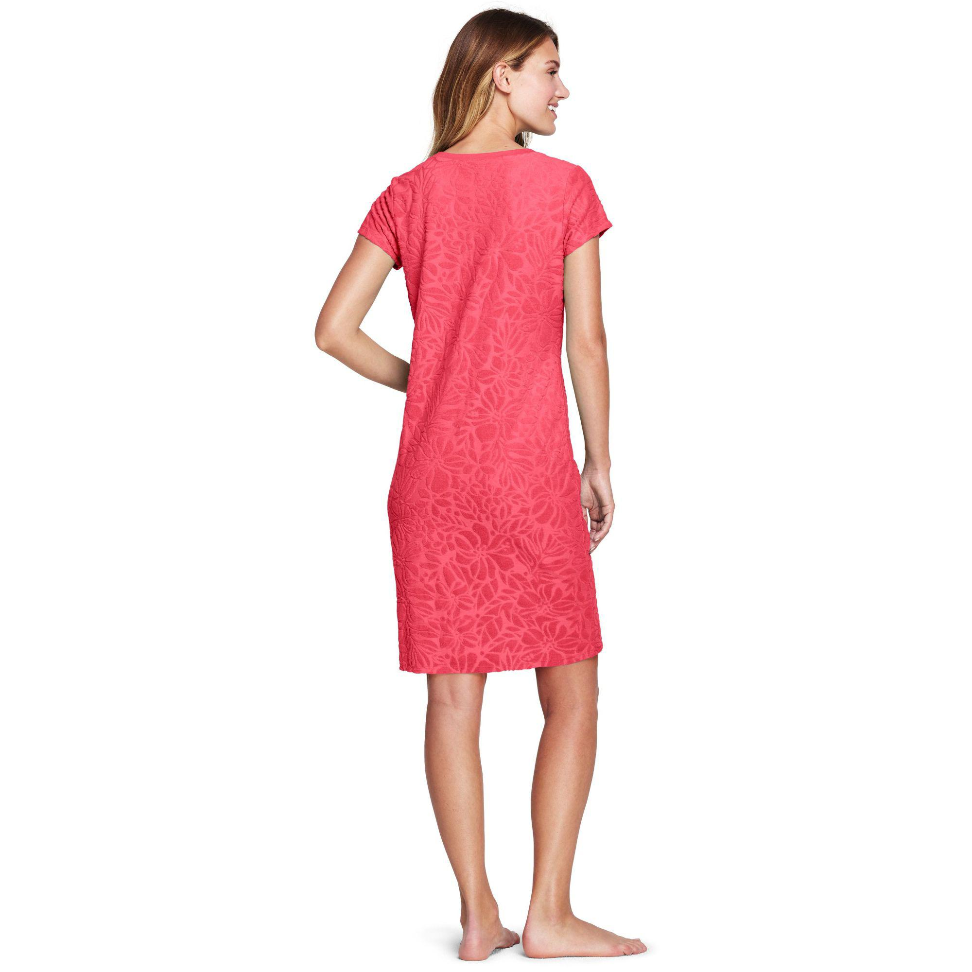 c0691d4504420 Lands  End - Pink Textured Towelling Cover-up Dress - Lyst. View fullscreen