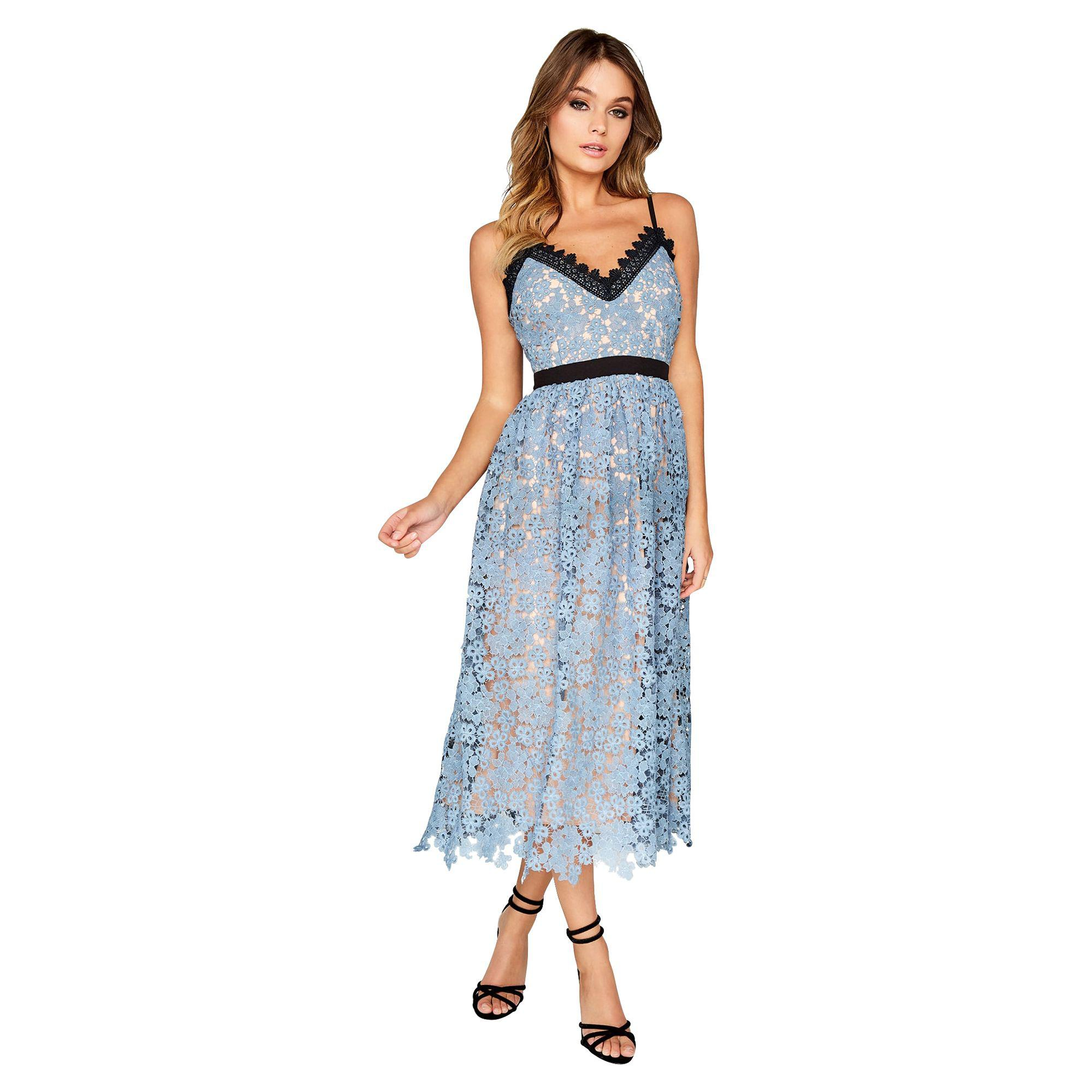 845e0dab980 Little Mistress Blue Lace Midi Dress in Blue - Lyst