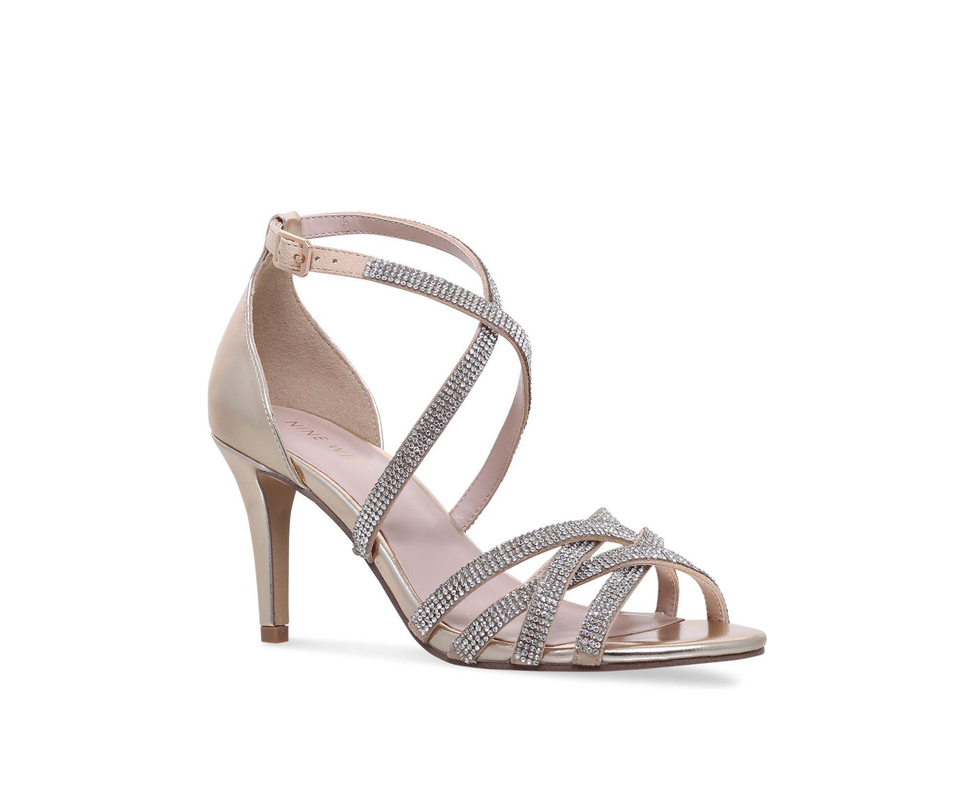47aa313879c Nine West Gold  diva  Mid Heel Sandals in Metallic - Lyst
