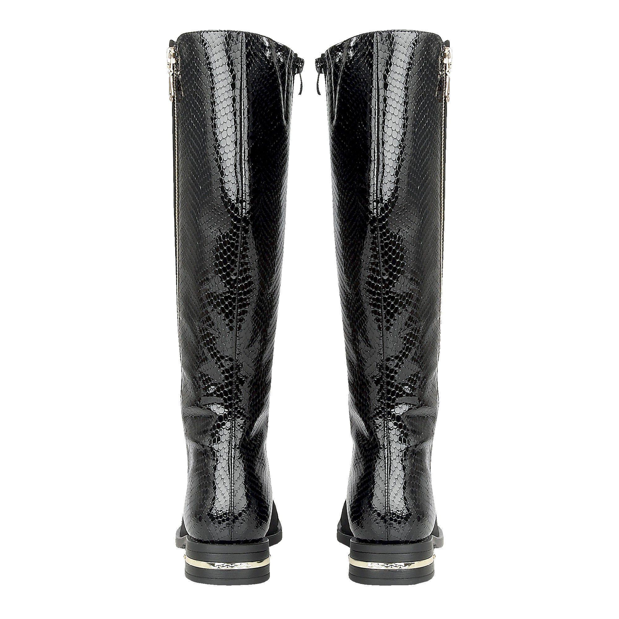 40d6f5ac4ad4 Lotus Black  pontal  Block Heel Knee High Boots in Black - Lyst