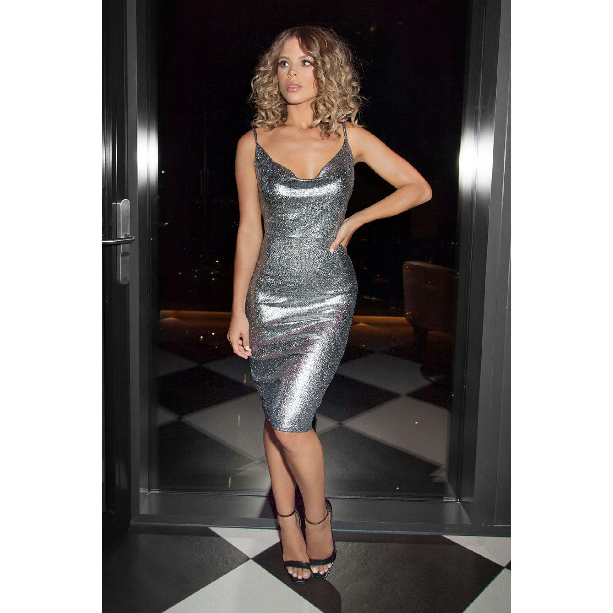179b36492110 Quiz Towie Silver Foil Cowl Neck Bodycon Dress in Metallic - Lyst