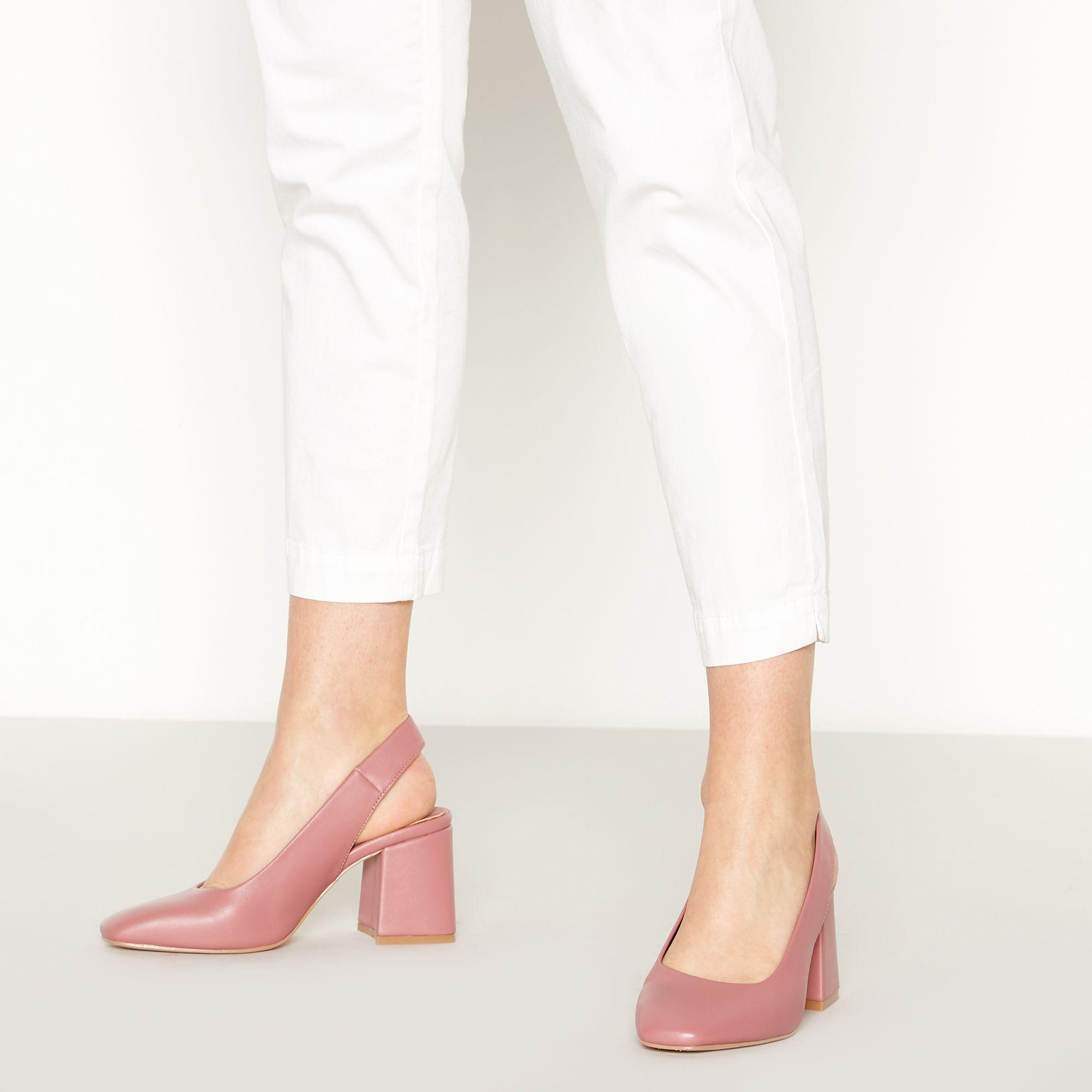 3c3af4cce Faith Pink  clock  Mid Block Heel Slingbacks in Pink - Lyst