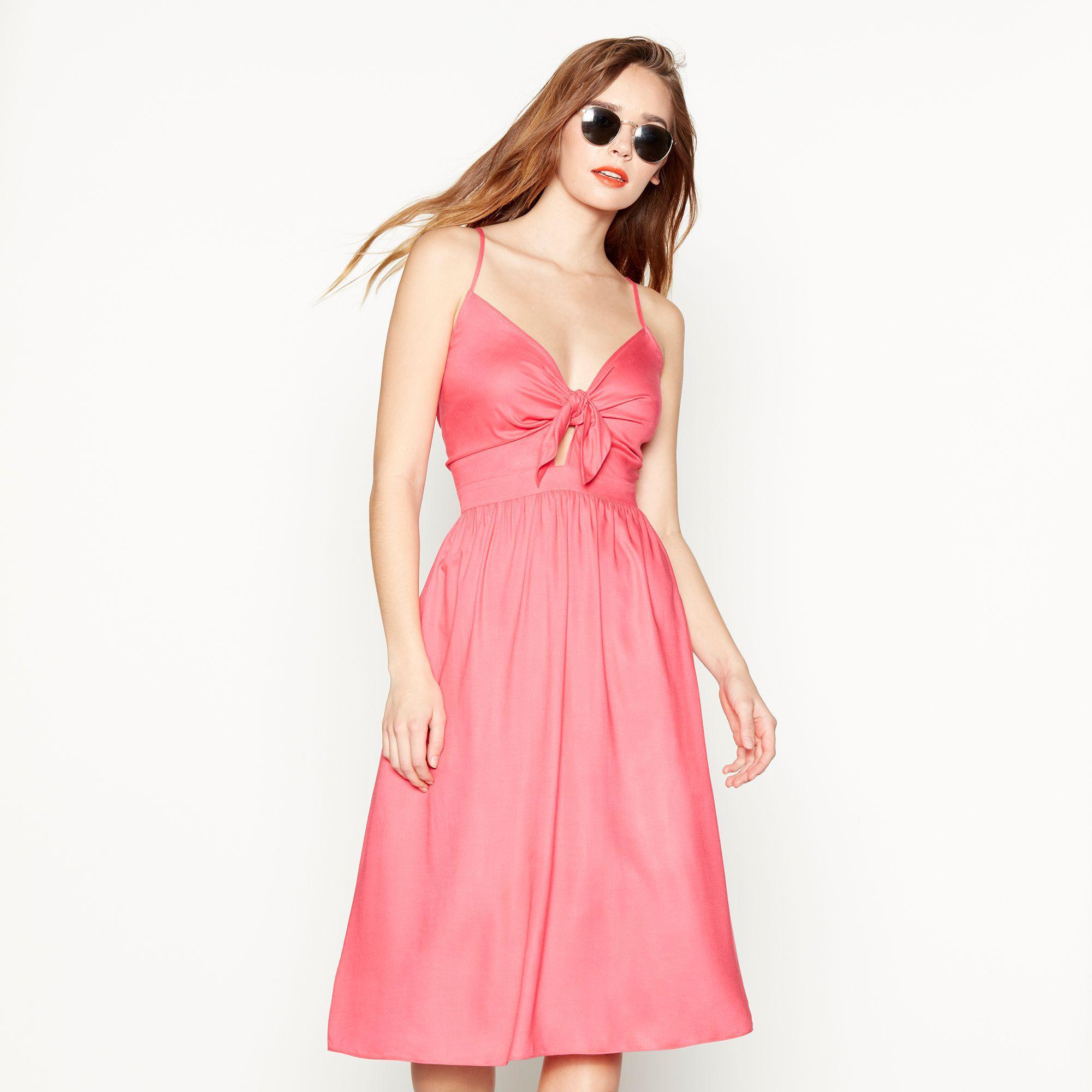 Red Herring Pink Tie Front Knee Length Dress in Pink - Lyst 570731d61