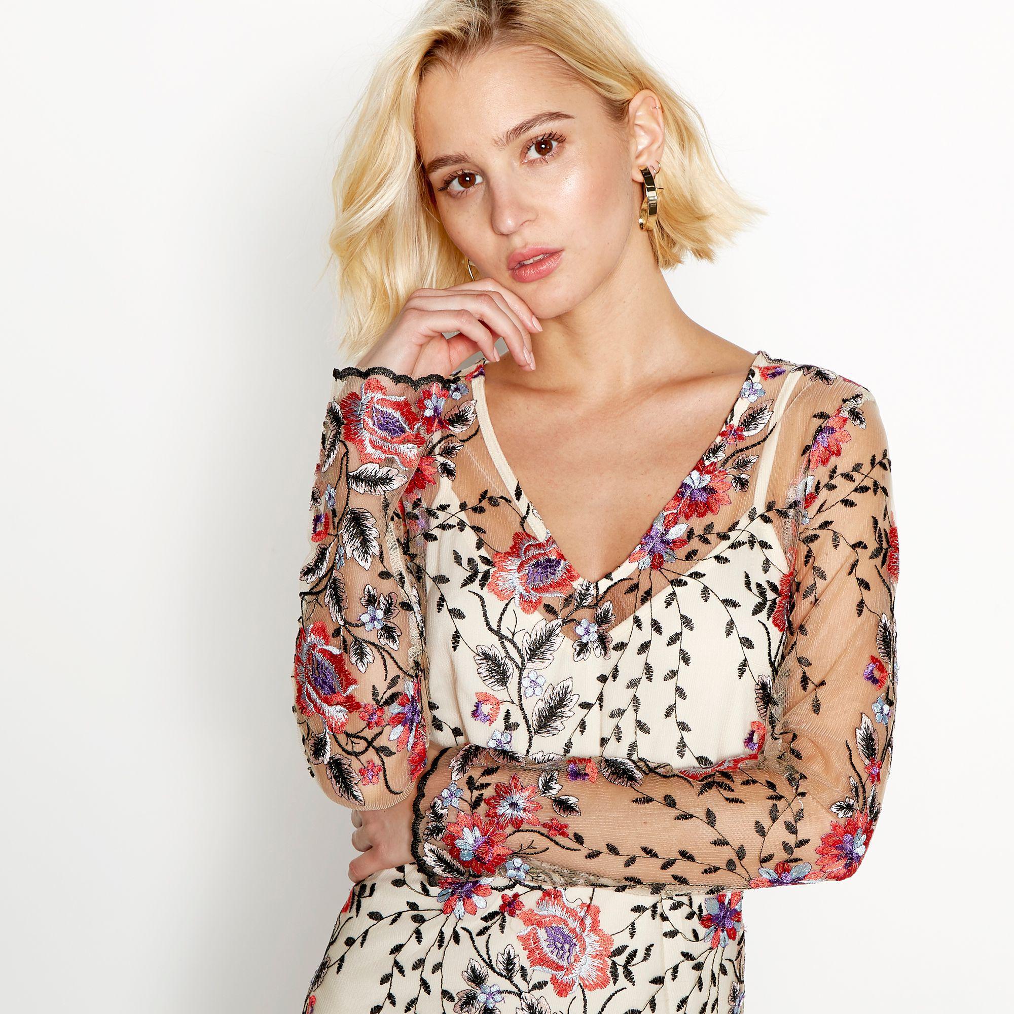 ca270491993 Vila Cream Floral Embroidered 'virena' V-neck Long Sleeve Midi Dress ...