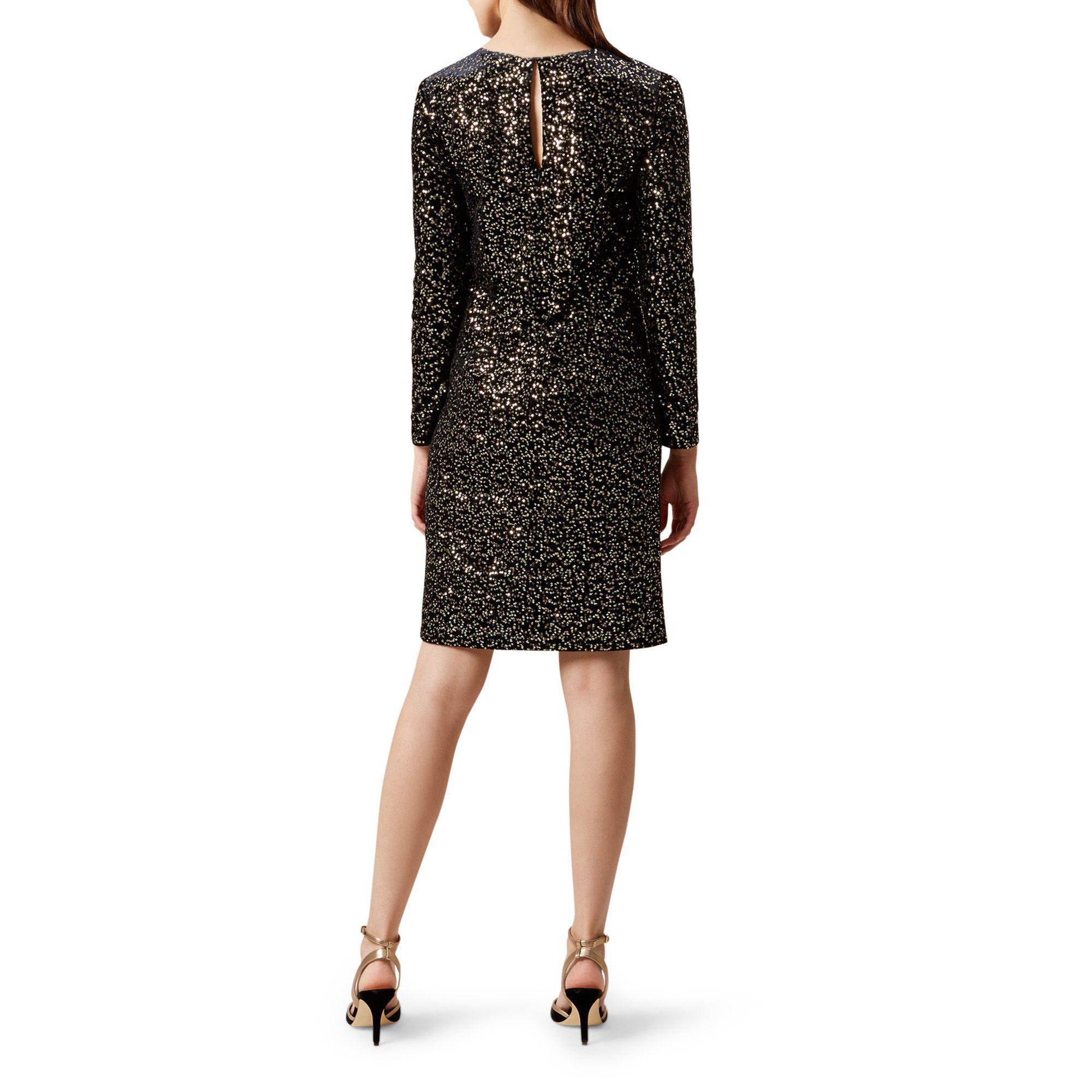 58690e28 Hobbs - Black Sequin Velvet 'mia' Knee Length Shift Dress - Lyst. View  fullscreen