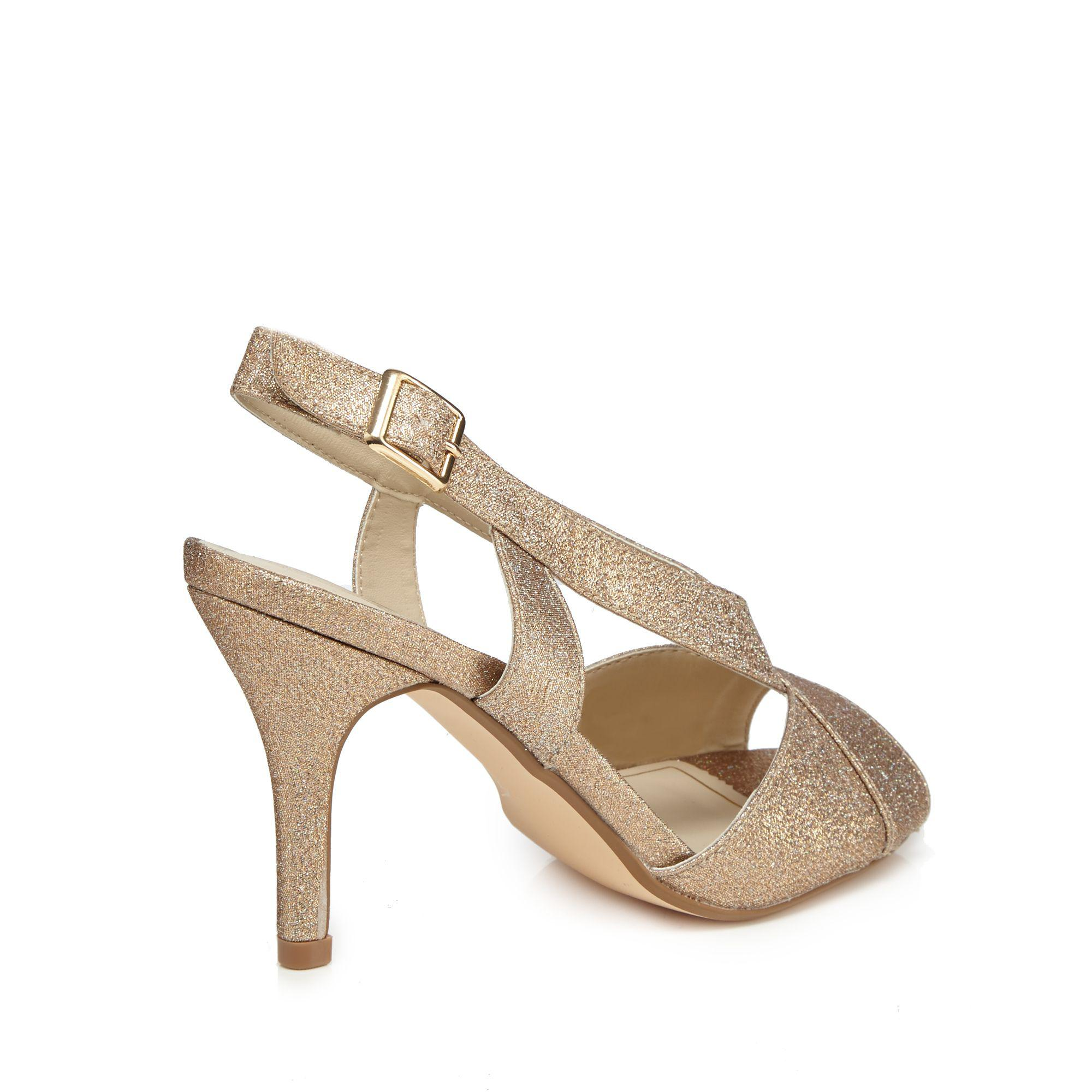 9276266b72fd Début Rose Gold Glitter  diamond  High Stiletto Heel Wide Fit Peep ...