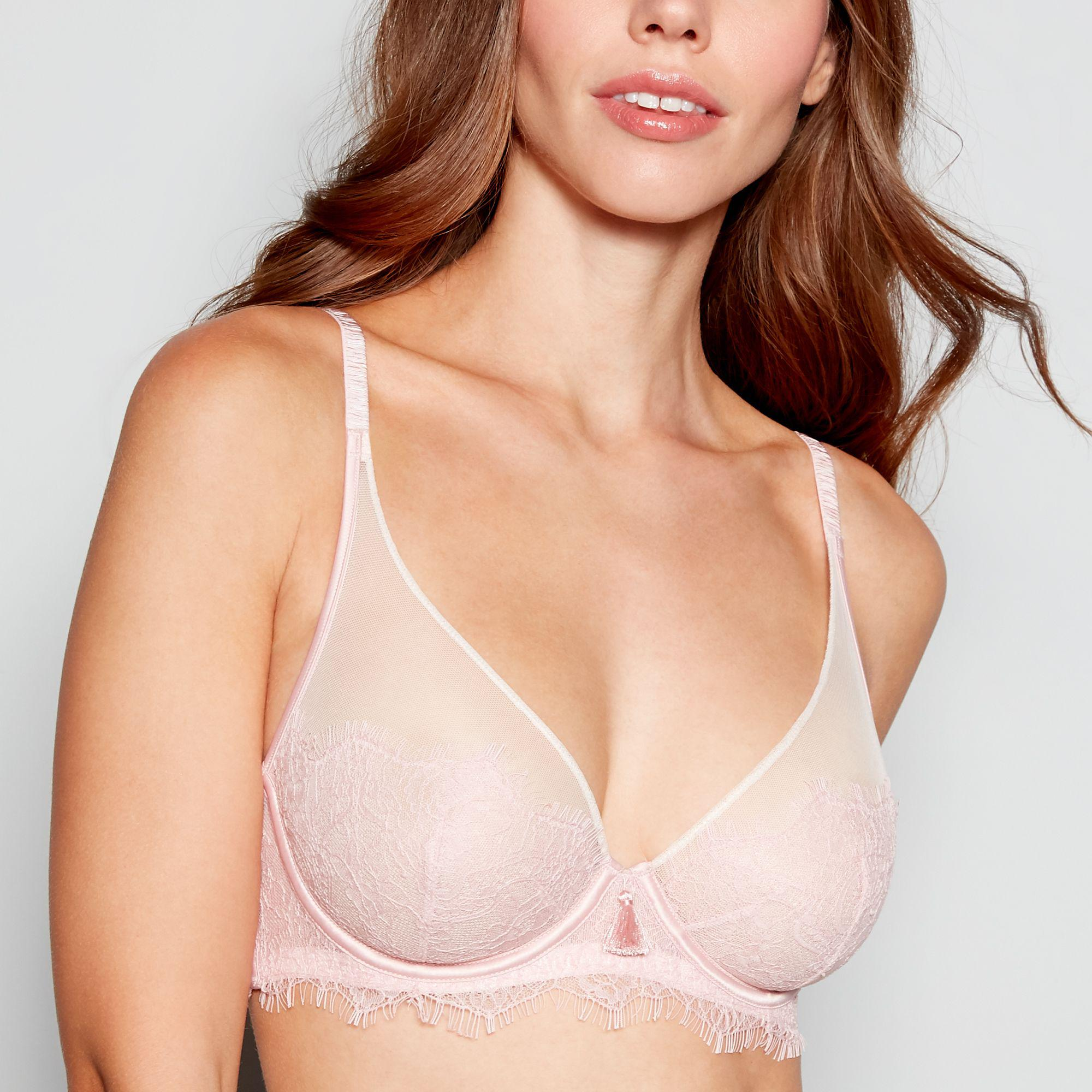 5b03916e4bc64a Ted Baker Pink Lace Mesh  halcyon  Underwired Non-padded Plunge Bra ...